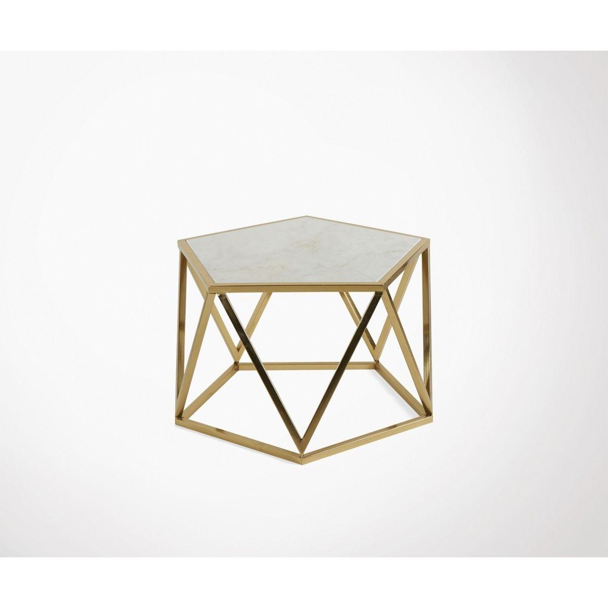 Table basse design art déco marbre métal doré POLLY