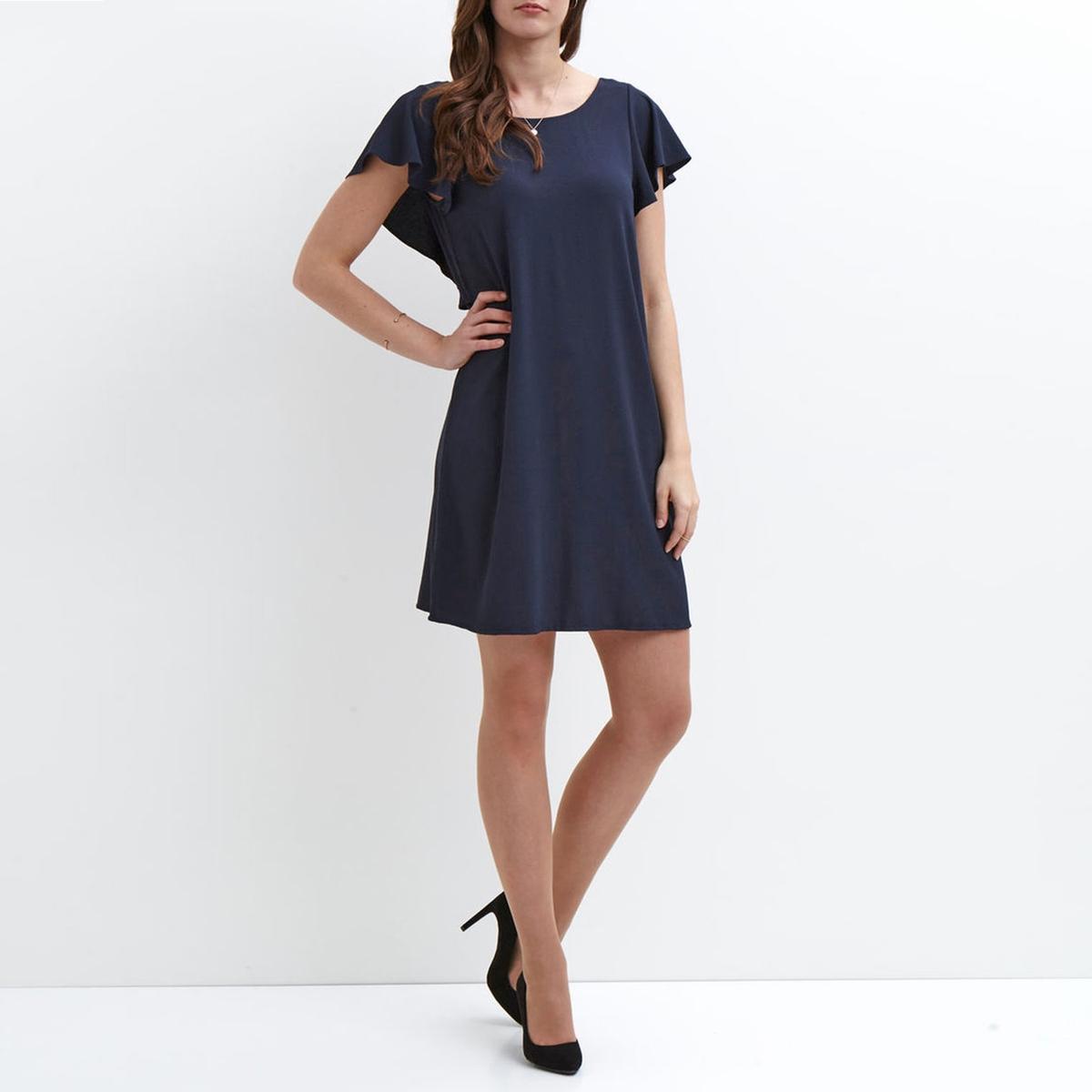 Платье короткое с рукавами с воланамиДетали  •  Форма : прямая •  Укороченная модель •  Короткие рукава    •  Круглый вырезСостав и уход  •  100% полиэстер •  Следуйте рекомендациям по уходу, указанным на этикетке изделия<br><br>Цвет: темно-синий