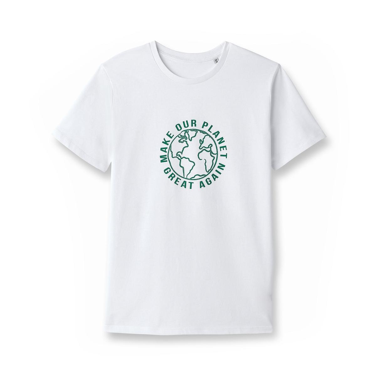 Футболка с надписью из биохлопкаЗа каждую проданную футболку La Redoute перечисляет 1€ Envol'Vert. Собранная сумма позволит участвовать в проекте озеленения леса в Колумбии.                          Более подробно : http://envol-vert.org/projets/restauration-forestiere-et-noyer-maya/                 Состав и описаниеМатериал:100% био-хлопокМарка: La Redoute Collections совместно с Envol'Vert             Уход:             Стирать при 30° с изделиями схожих цветов             Отбеливание запрещено             Гладить при умеренной температуре             Сухая (химическая) чистка запрещена             Машинная сушка запрещена                          Преимущества : Био-продукт.             Выращенный без использования пестицидов и химических удобрений био-хлопок изготовлен с заботой о почве, воде и людях, возделывающих его.             Мы заботимся о сохранении окружающей среды и здоровья людей.<br><br>Цвет: белый,серый меланж