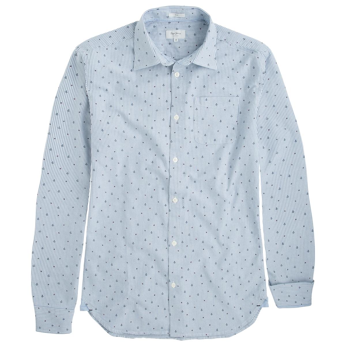Рубашка из хлопка Darrick с рисунком, облегающий покройРубашка DARRICK от марки PEPE JEANS®, 1 нагрудный карман.- Длинные рукава, манжеты на пуговицах- Облегающий покрой, закругленный низ- Классический воротник со свободными уголками- 1 нагрудный карман- Мелкий рисунок якоряСостав и описание :Основной материал : 100% хлопка.Марка : PEPE JEANS®Уход :Следуйте рекомендациям, указанным на этикетке изделия.<br><br>Цвет: синий/ белый в полоску<br>Размер: S