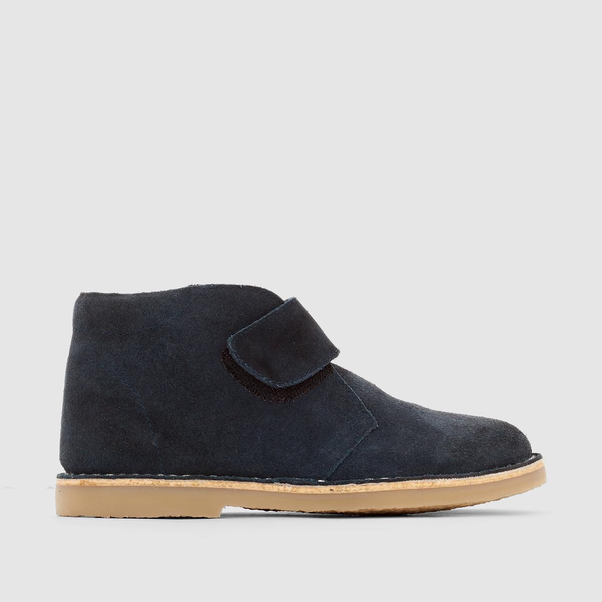 Ботинки кожаные с застежкой на планки-велкроПреимущества: удобные и стильные ботинки из спилка с застежкой на планки-велкро и имитацией каучука на подошве.<br><br>Цвет: темно-синий<br>Размер: 27