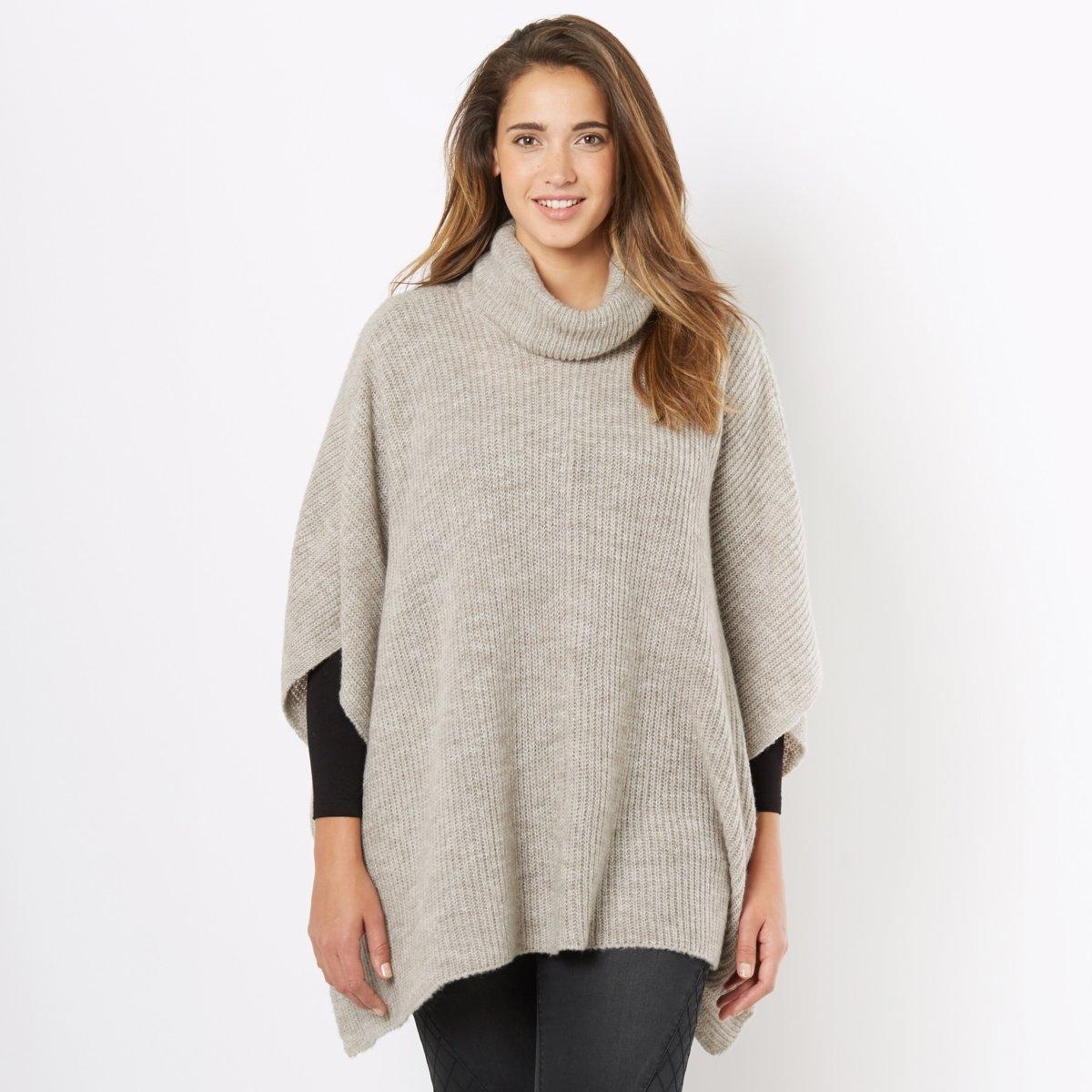 Пуловер-накидка с объемным воротникомПуловер-накидка. Этот пуловер с объемным воротником согреет Вас зимой и в межсезонье. Наденьте его поверх футболки с длинными рукавами. Рукава 3/4. Разрезы по бокам. Пуловер из 85% акрила и 15% полиэстера. Длина 78 см.<br><br>Цвет: бежевый меланж<br>Размер: единый размер