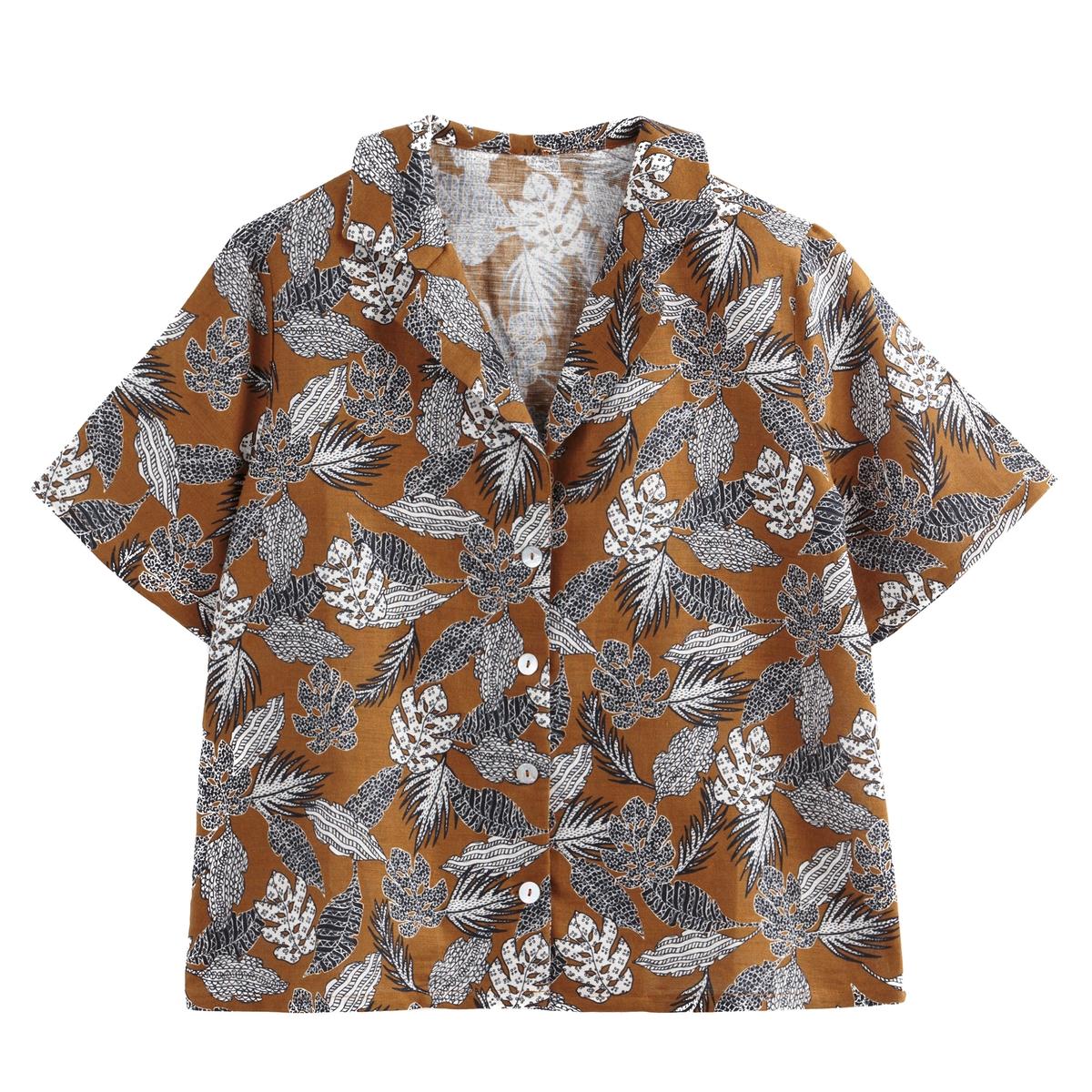 Camisa con cuello sastre estampado de flores de lino mezclado