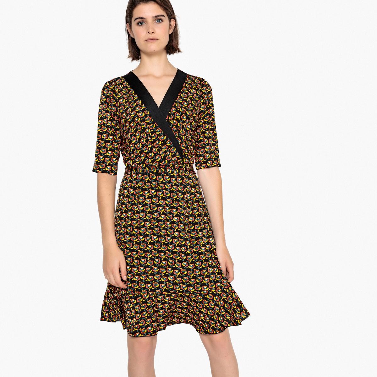 Платье La Redoute В форме каш-кер с цветочным рисунком на черном фоне 34 (FR) - 40 (RUS) черный пижама каш кер