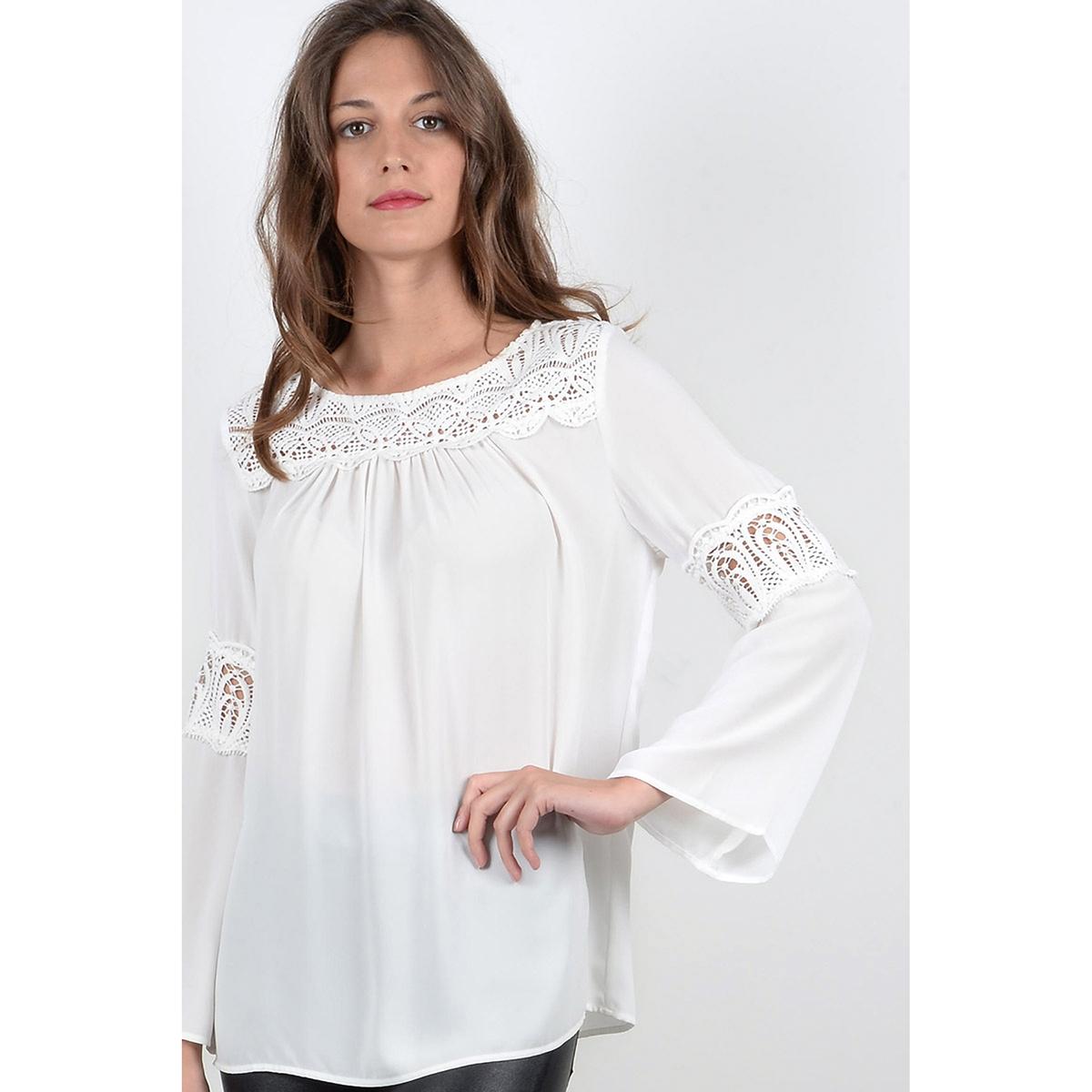 Блузка однотонная с круглым вырезом и длинными рукавами пуловер с круглым вырезом и вышивкой molly bracken