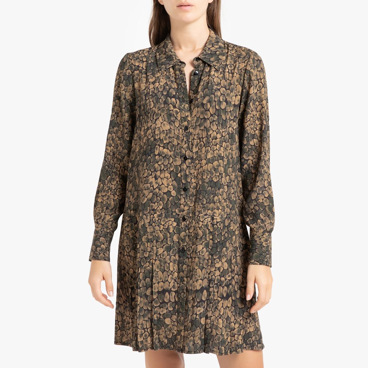 Платье La Redoute С принтом с низом с плиссировкой и длинными рукавами POMETTE 36 (FR) - 42 (RUS) другие классическое платье с длинными рукавами и складками на юбке liu jo