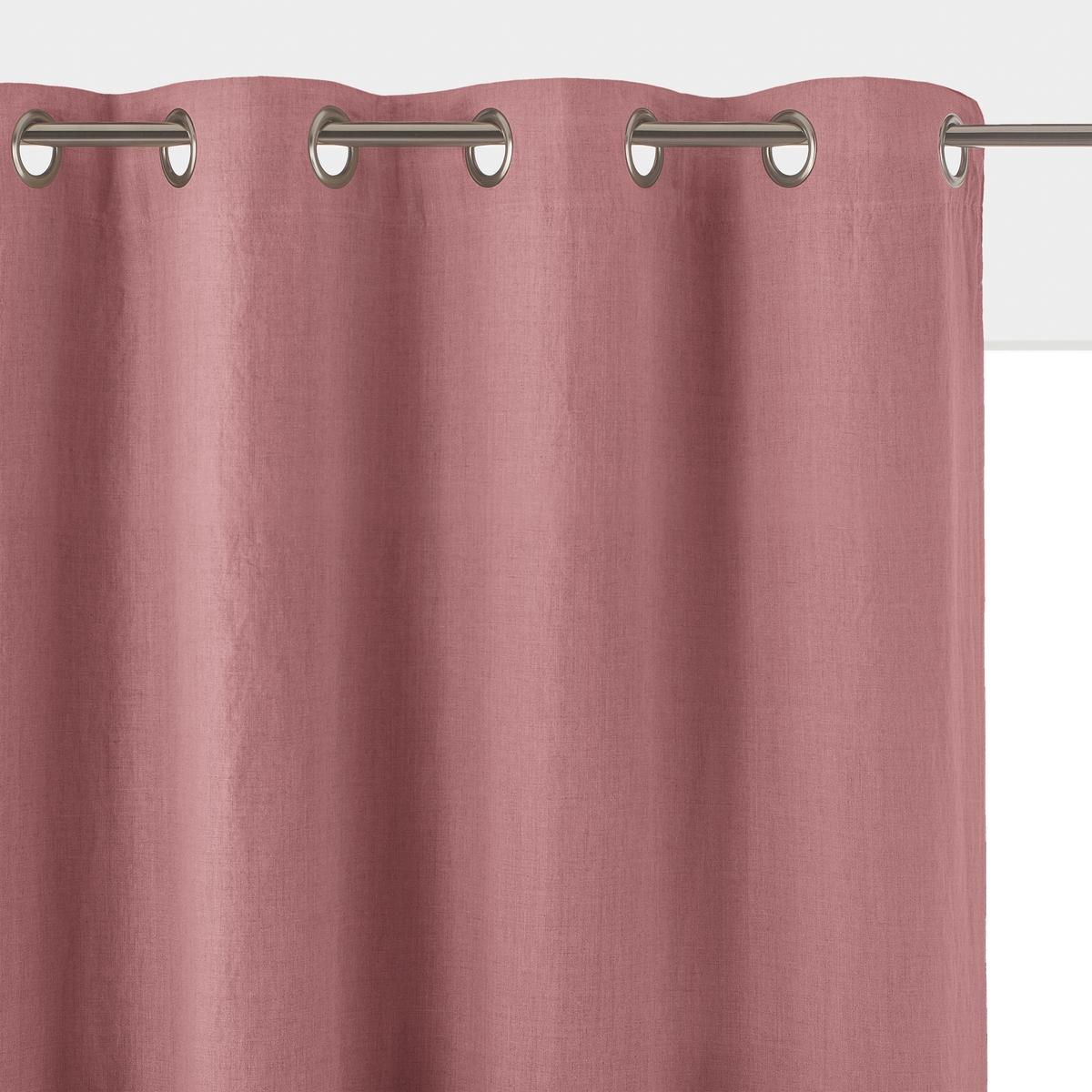 Штора LaRedoute Затемняющая из стиранного льна с люверсами Onega 220 x 135 см розовый