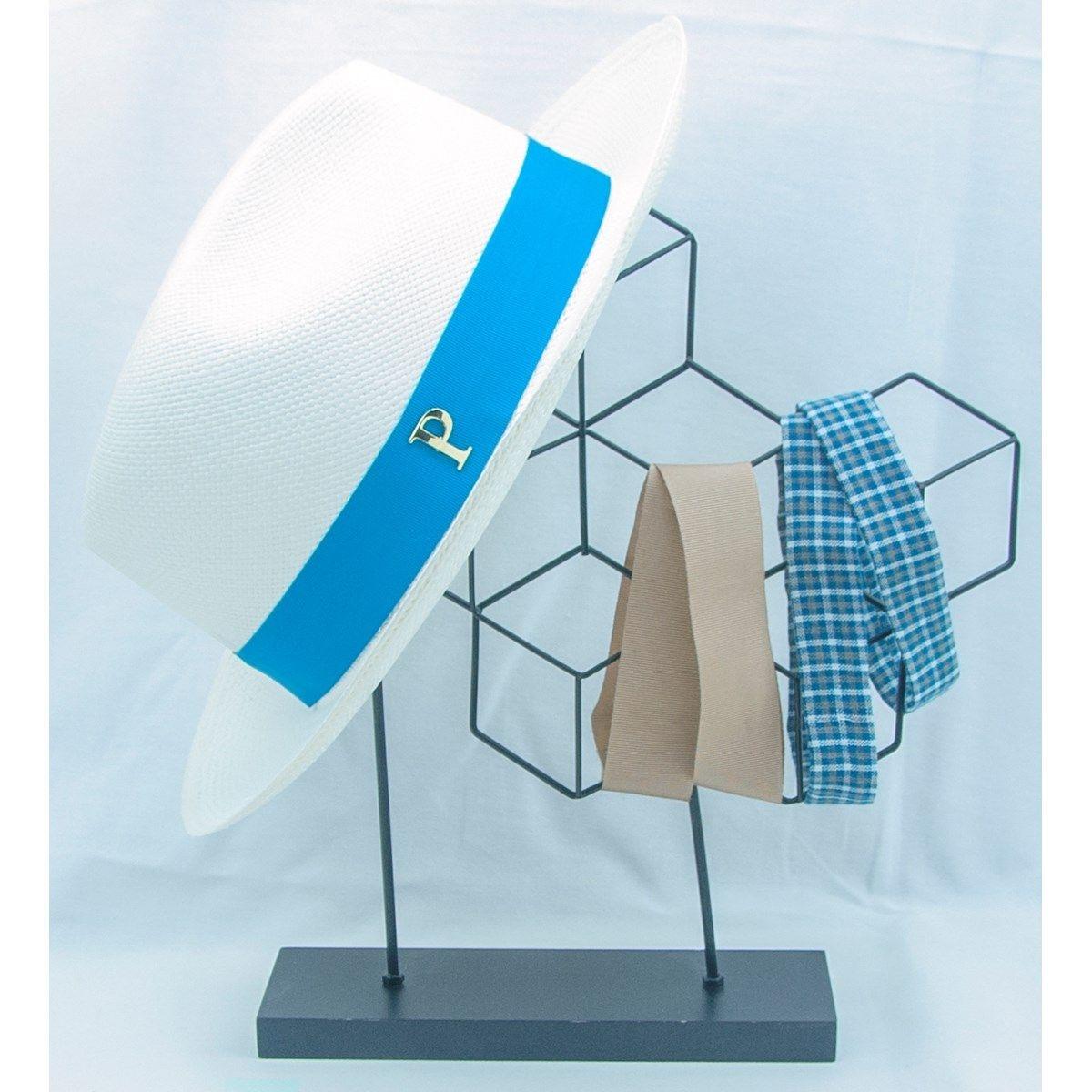 Lot chapeau panama en paille blanc et 3 rubans interchangeables