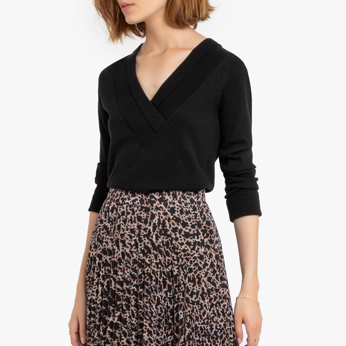 Пуловер La Redoute С V-образным вырезом из полушерстяной ткани Matite S черный пуловер la redoute с круглым вырезом из шерсти мериноса pascal 3xl черный