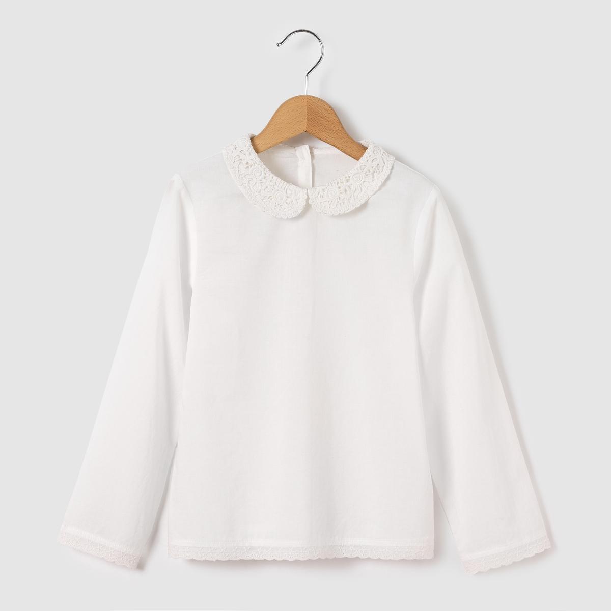 Блузка с закругленным отложным воротником и вышивкой макраме, 3-12 лет