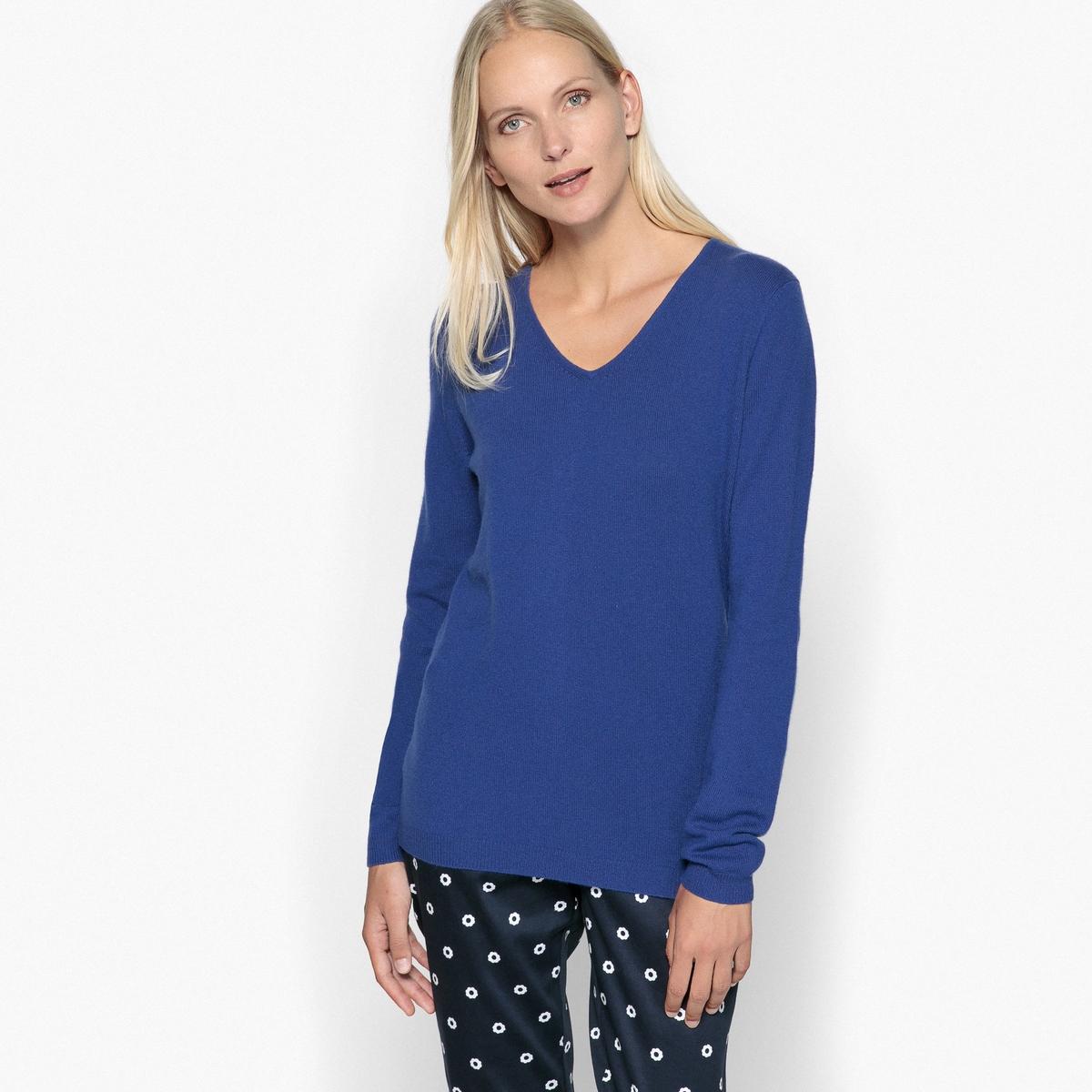 Пуловер с V-образным вырезом из тонкого трикотажа, 100% кашемир пуловеры