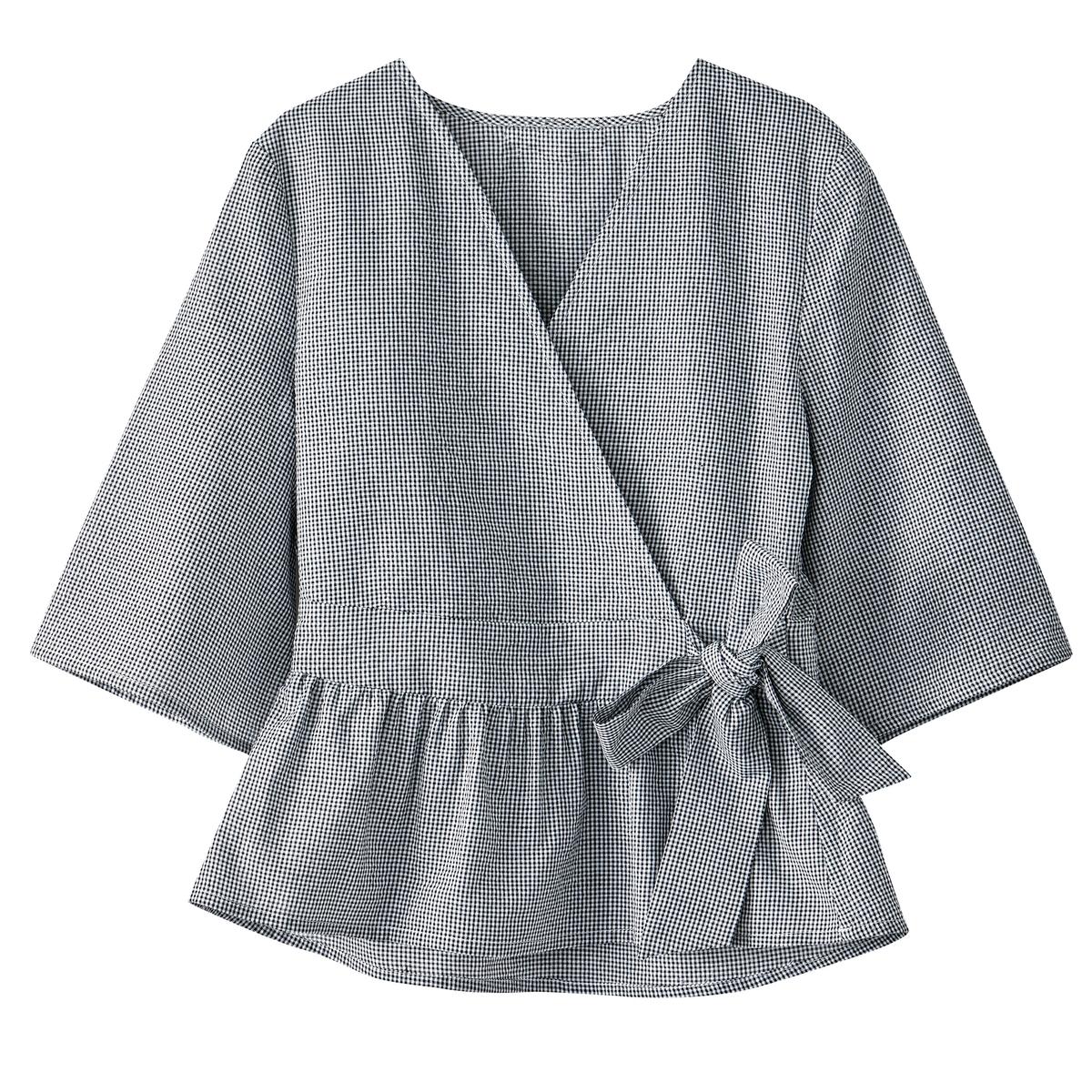 Блузка с баской из вафельного материала с принтом виши