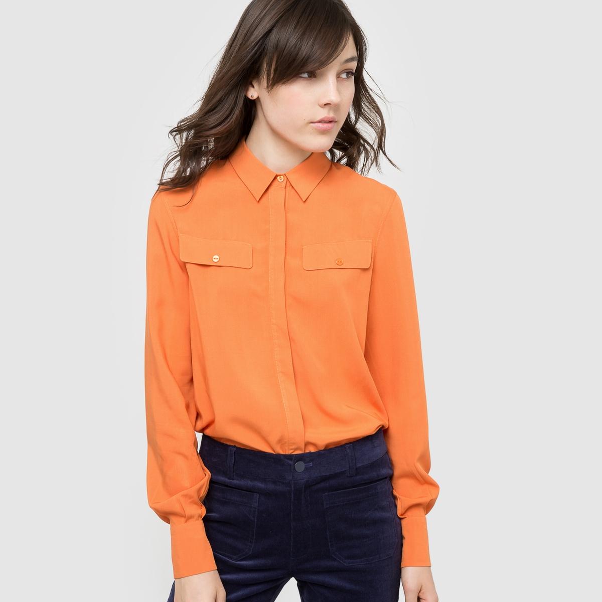Рубашка струящаясяСостав и детали :Материал: 100% вискозыДлина: 65 смМарка: R ?dition   Уход :- Машинная стирка при 30°С с вещами схожих цветов.Стирать и гладить с изнаночной стороны.<br><br>Цвет: оранжевый<br>Размер: 40 (FR) - 46 (RUS)