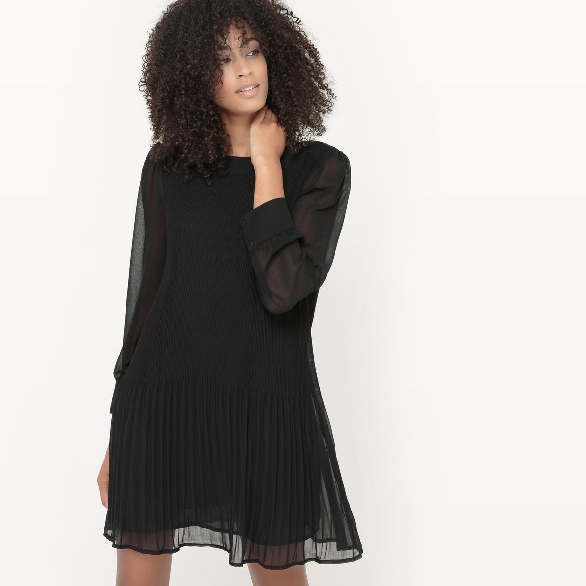 Платье плиссированное, из вуали платье плиссированное с рисунком