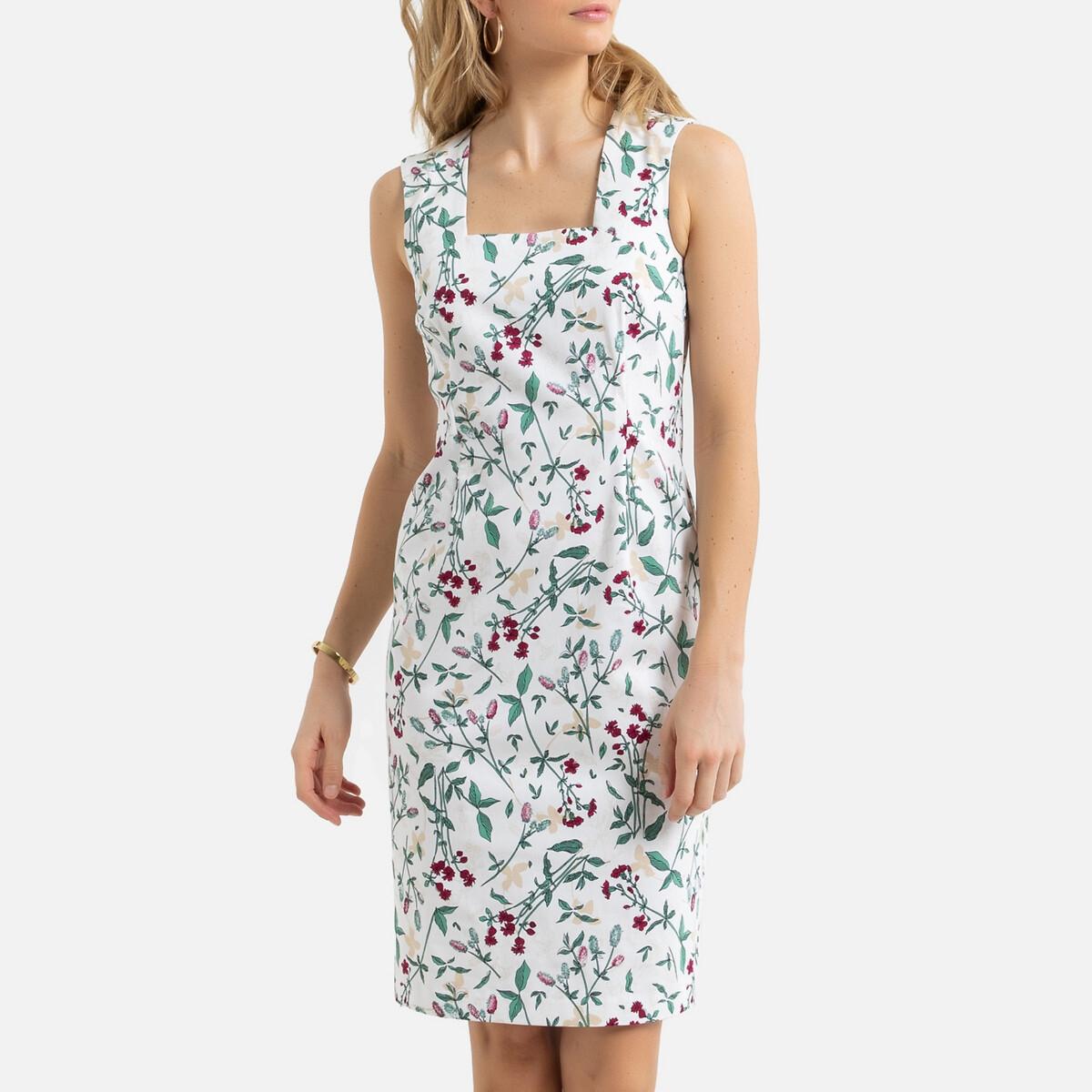 Платье La Redoute Прямое с цветочным принтом миди 44 (FR) - 50 (RUS) зеленый платье la redoute прямое с принтом до колен 48 fr 54 rus черный