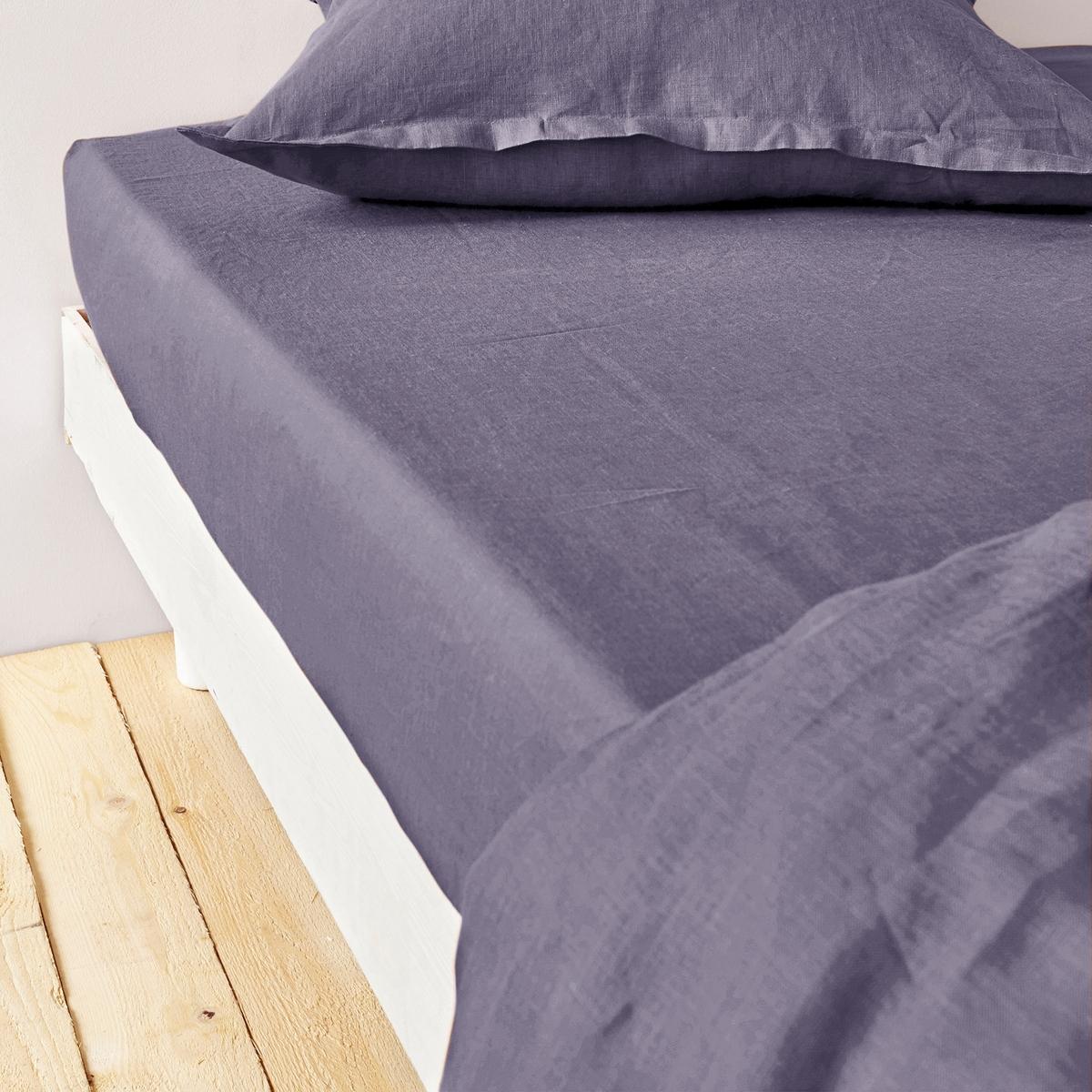 Натяжная простыня из 100% льна светлого цветаНатяжная простыня качества BEST из льняной ткани светлого цвета с жатым эффектом. Какое наслаждение прикоснуться к натяжной простыне изо льна! Она мягкая, лёгкая, прохладная летом и комфортная зимой: Материал натуральный, дышащий и великолепен на ощупь!Роскошная гамма цветов для создания комплекта постельного белья по вашему желанию. Эта простыня будет долго радовать вас своим внешним видом и мягкостью ! Отлично сочетается с однотонным или цветочным рисунком.Клапан 30 см шириной.Машинная стирка при 60 °C.Знак Oeko-Tex® гарантирует, что товары протестированы и сертифицированы, не содержат вредных веществ, которые могли бы нанести вред здоровью. Размер:                                   90 х 190 см                                  180 x 200 см                                   140 x 190 см                                   160 x 200 см<br><br>Цвет: аметист,зелено-синий,темно-коричневый,темно-синий