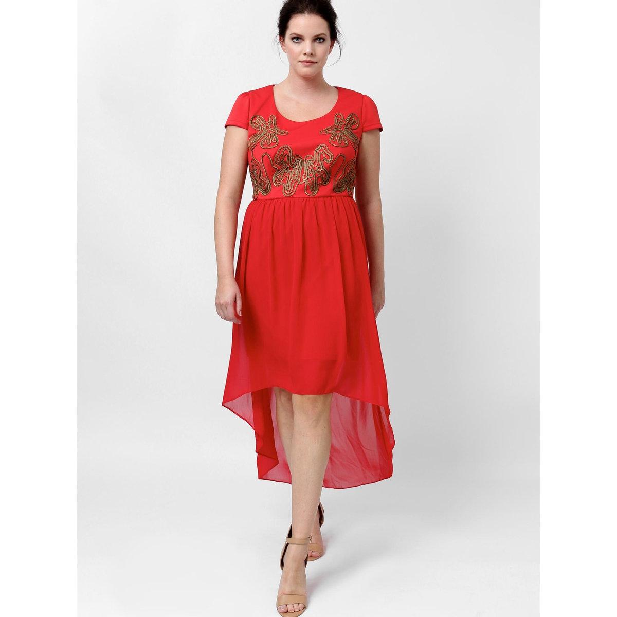 Платье длинноеПлатье с короткими рукавами KOKO BY KOKO. Узор спереди . Прозрачный эффект внизу платья. Длина ок. 145 см.. 100% полиэстера<br><br>Цвет: красный<br>Размер: 44 (FR) - 50 (RUS)