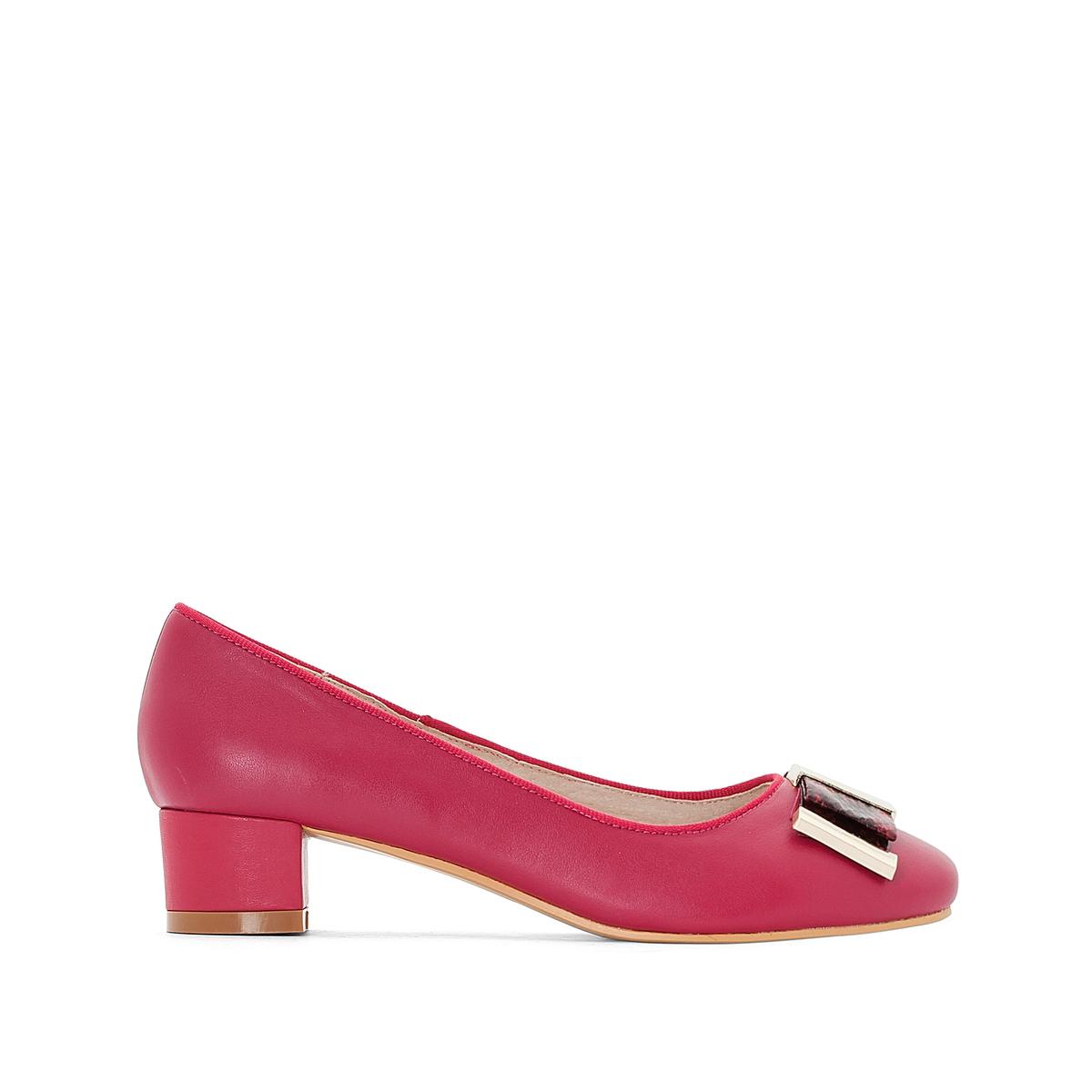 Балетки La Redoute Кожаные на каблуке 36 розовый туфли la redoute на среднем каблуке с питоновым принтом 36 каштановый