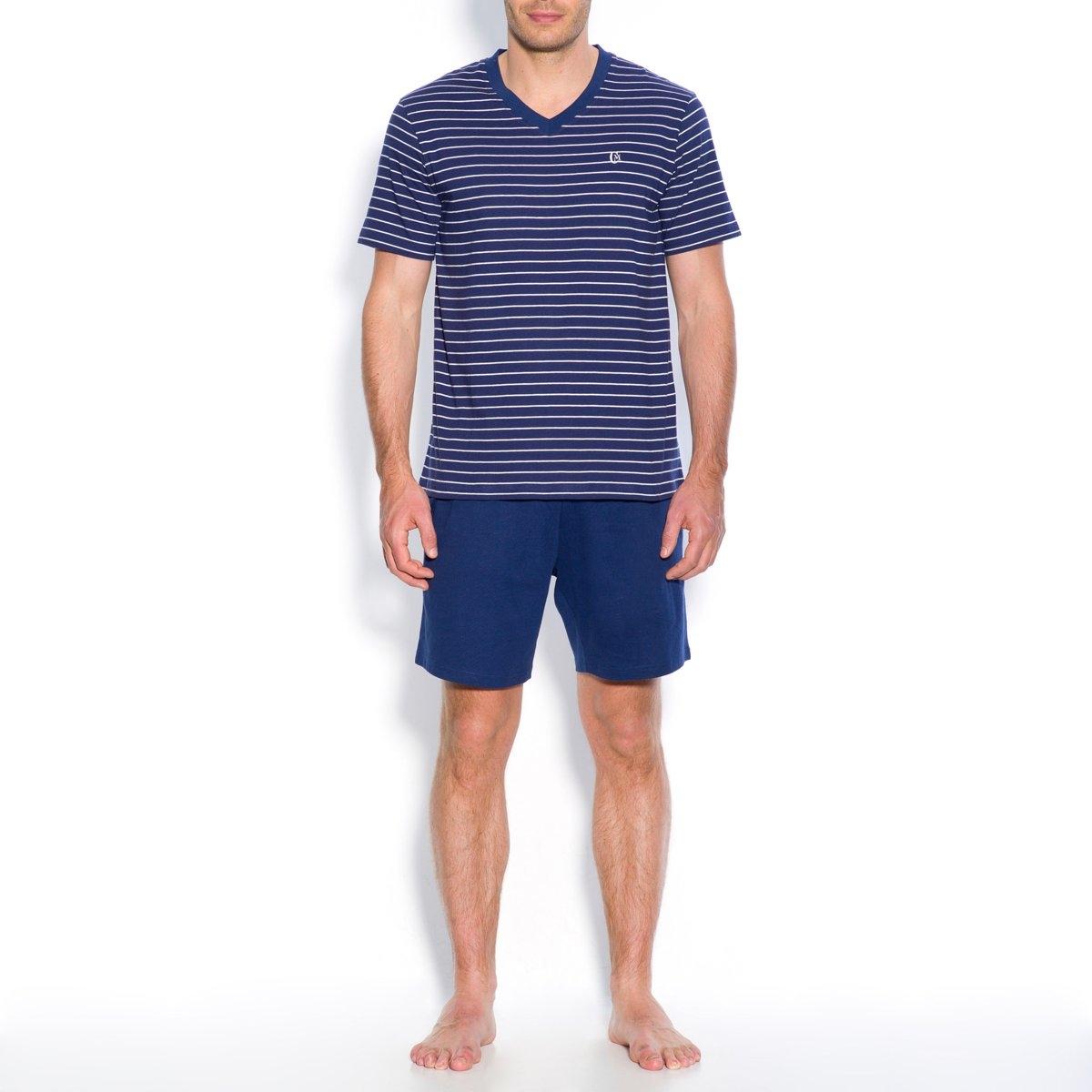 Пижама с шортамиДжерси, 100% хлопка. Футболка в полоску. V-образный вырез. Короткие рукава. Вышивка на груди. Однотонные шорты с эластичным поясом.  2 кармана по бокам.<br><br>Цвет: серо-синий в полоску,темно-синий в полоску<br>Размер: M.XXL.L.XL