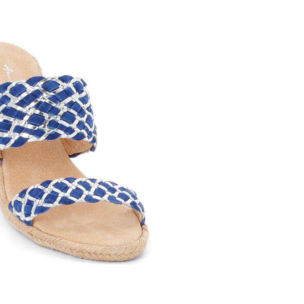 Туфли без задника кожаные с двойным ремешком
