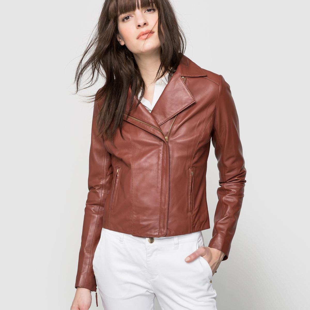 Куртка из кожи на молнии в байкерском стиле