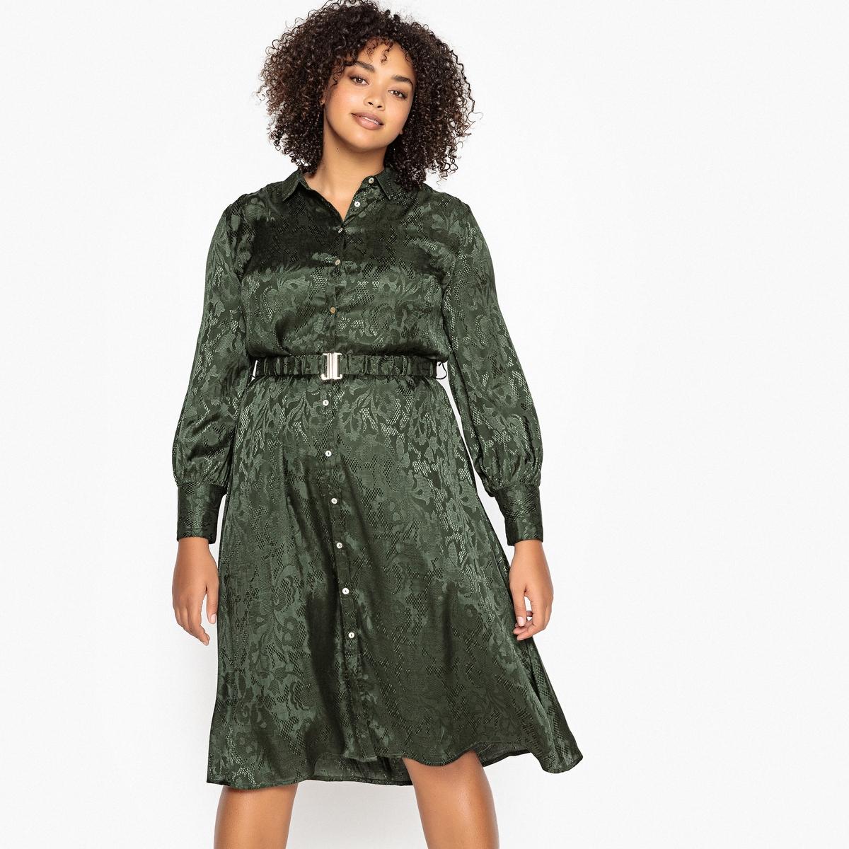 Платье-рубашка La Redoute Расклешенное длина миди 46 (FR) - 52 (RUS) зеленый