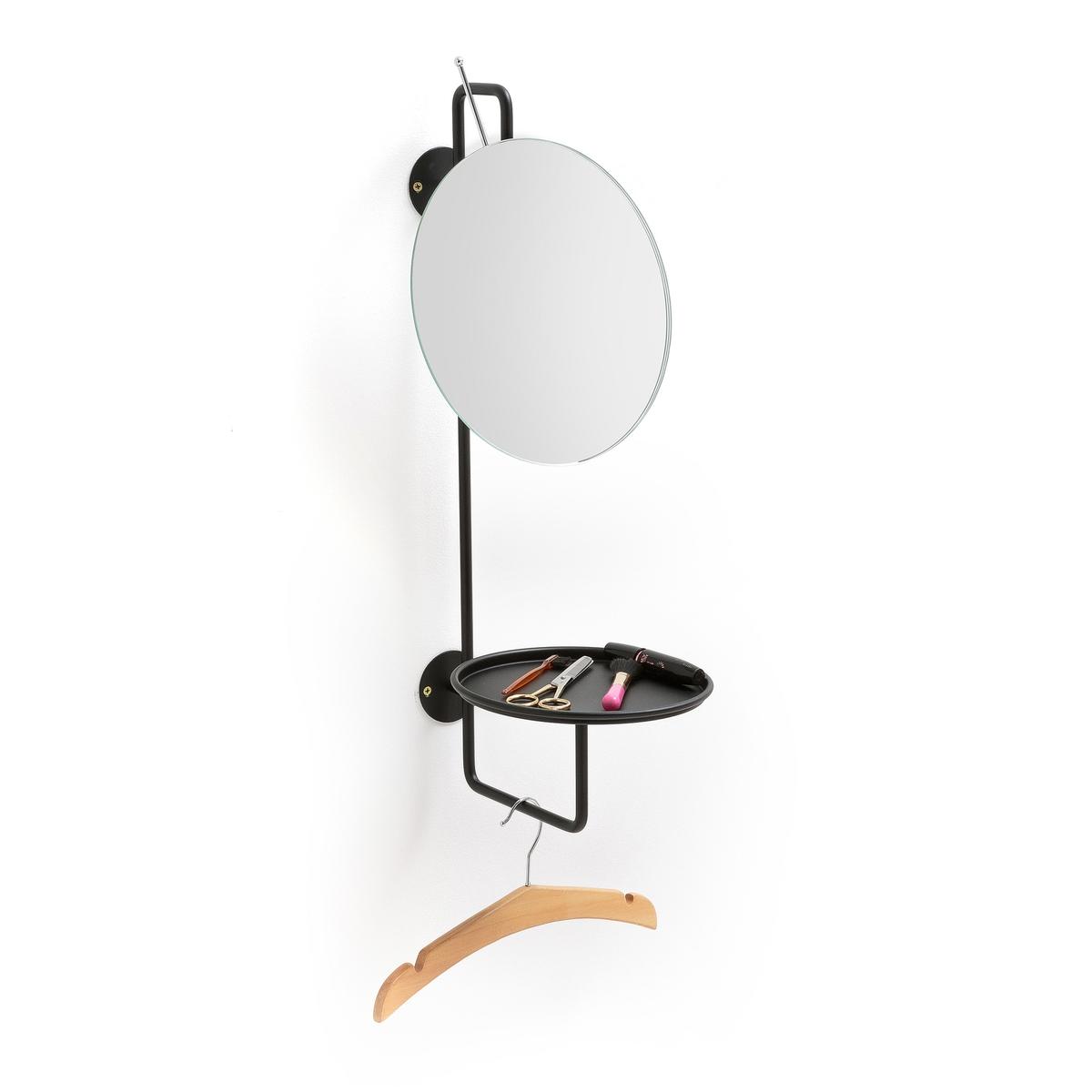 Зеркало круглое с полкой из металла