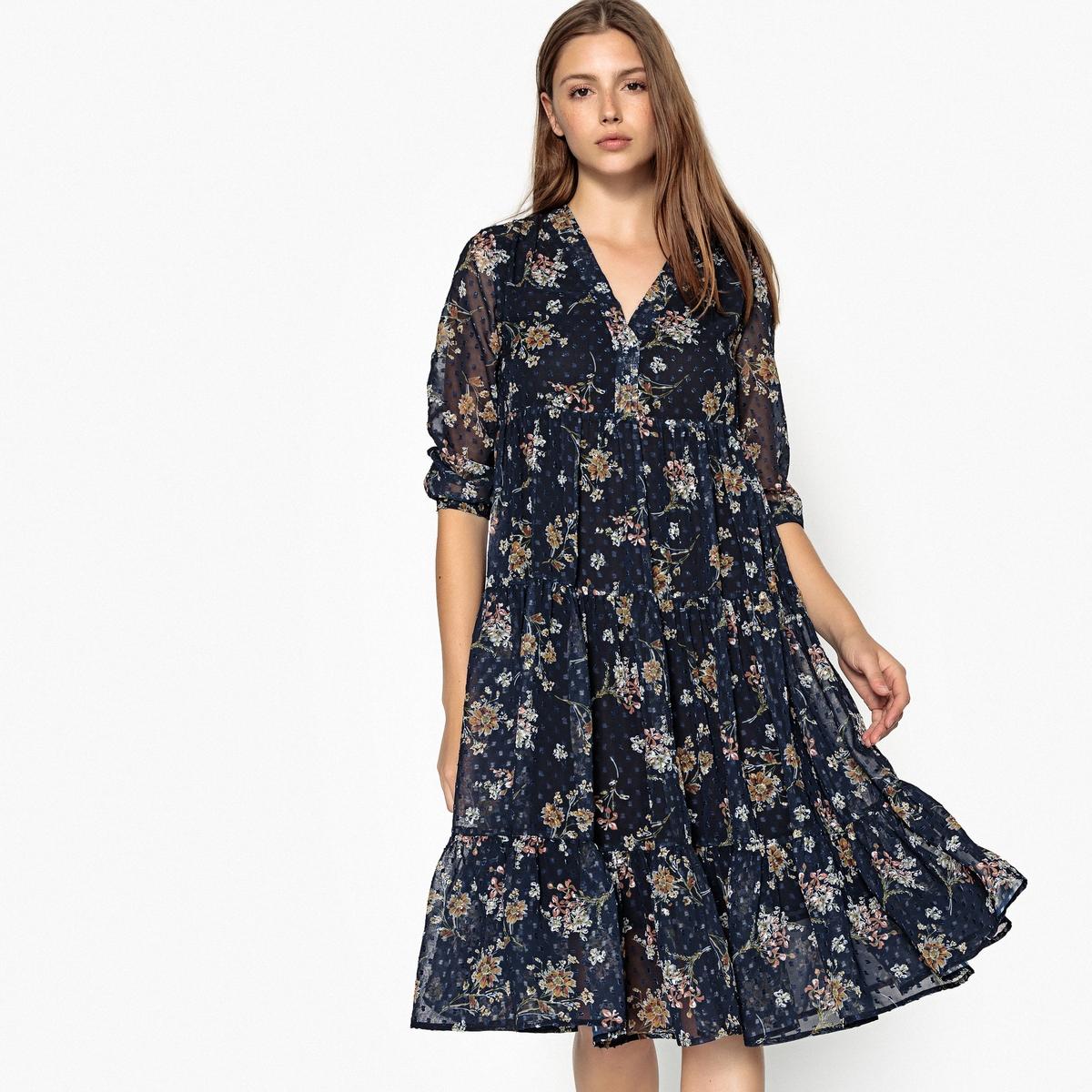 Платье расклешенное с цветочным принтом, длина миди, 3/4 платье с цветочным принтом