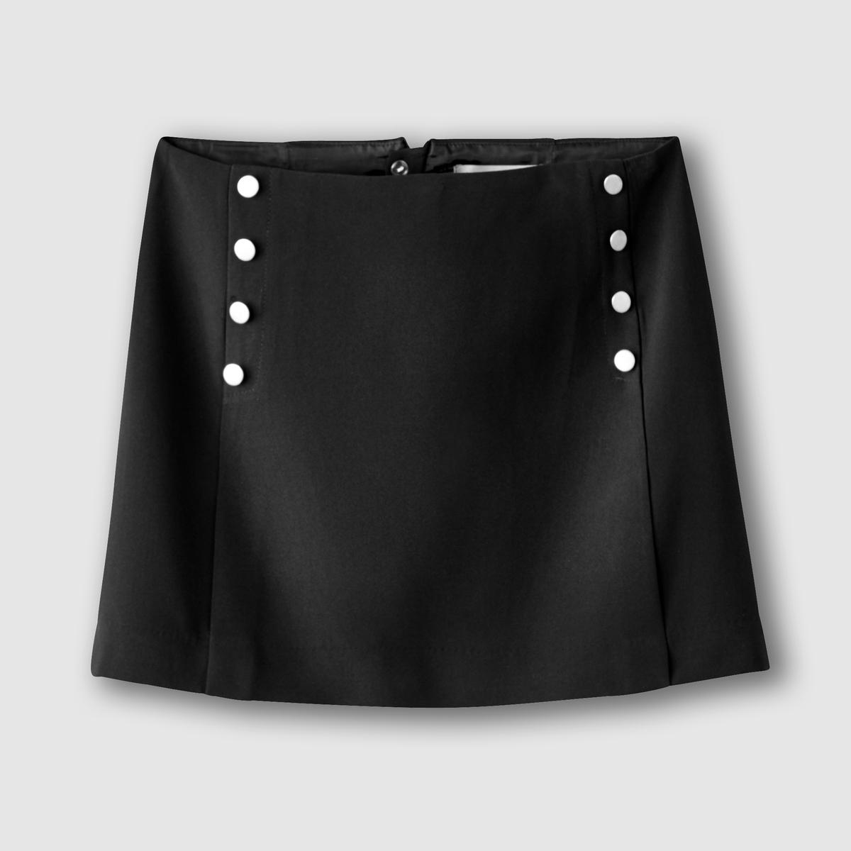 Юбка короткаяКороткая юбка. 93% полиэстера, 7% эластана. Прямой покрой. Декоративные пуговицы спереди. Скрытая застежка на молнию сзади. Длина 39 см.<br><br>Цвет: черный<br>Размер: 40 (FR) - 46 (RUS)