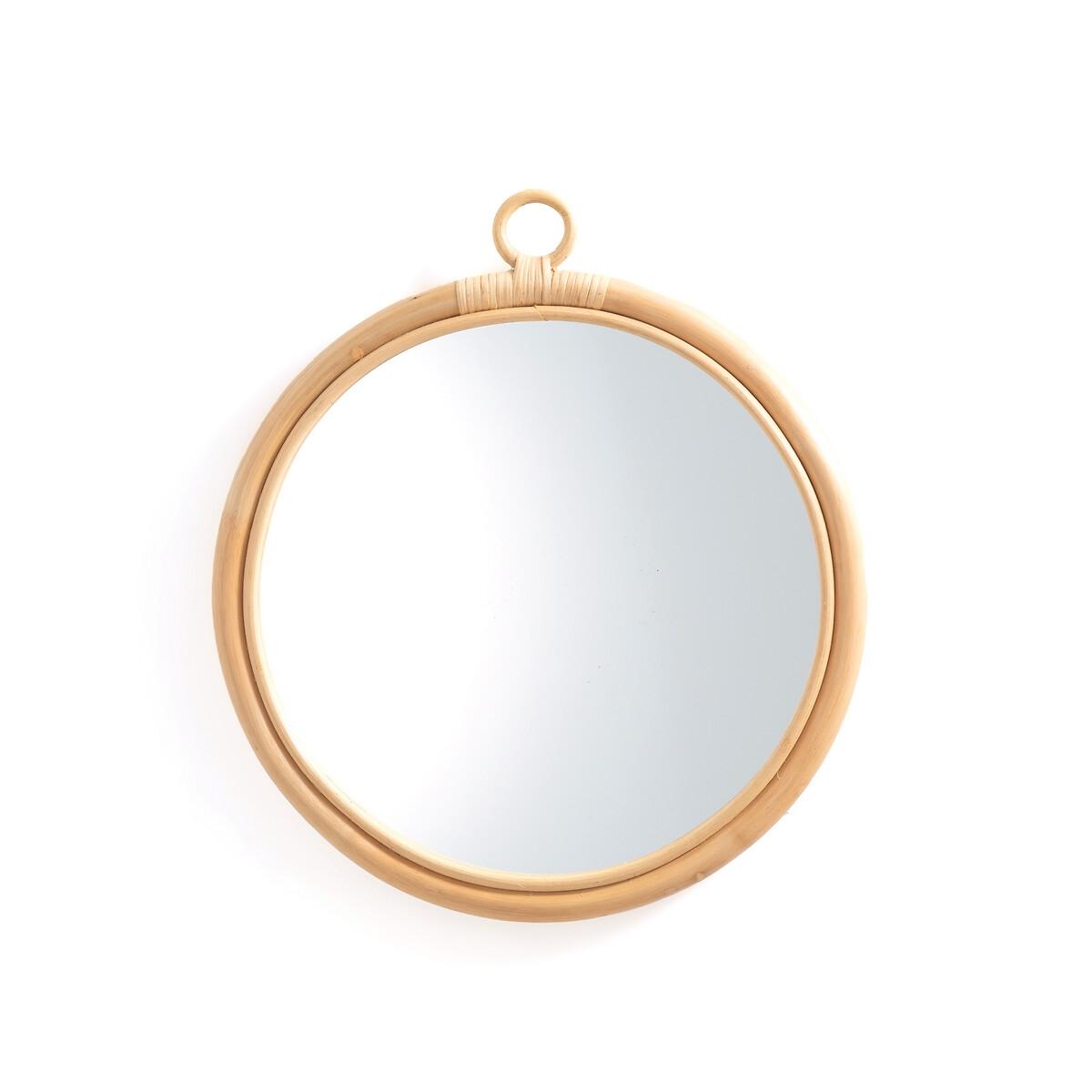 Зеркало LaRedoute Круглое из ротанга 45 см Nogu единый размер бежевый
