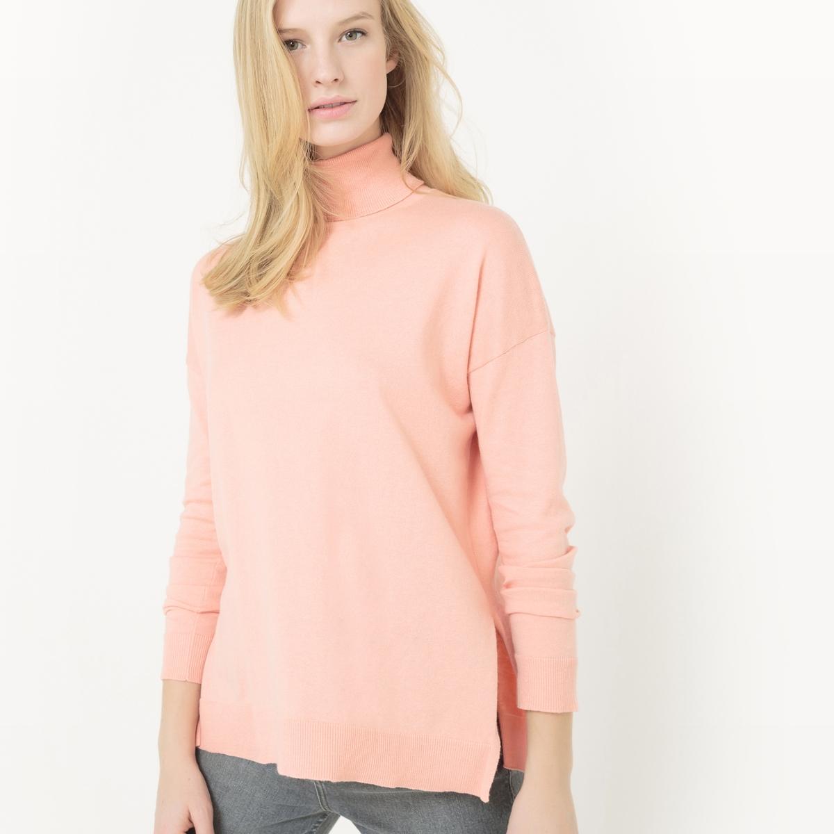 Пуловер с отворачивающимся воротником из хлопка/шелка myone пуловер из шелка и хлопка