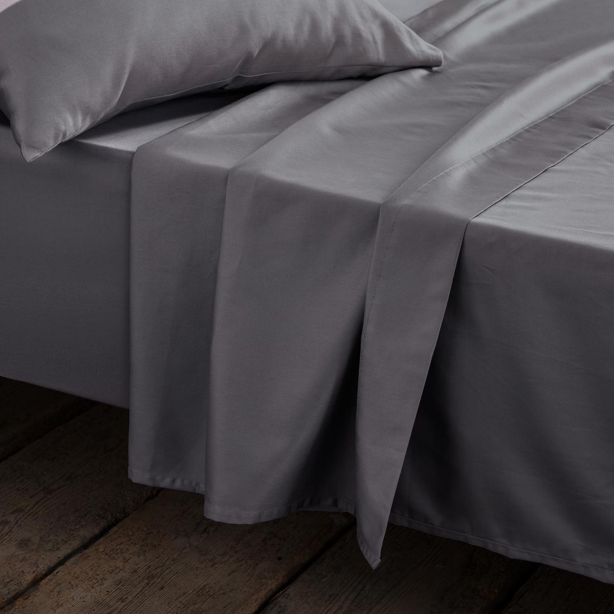 цена Простыня La Redoute Сатиновая хлопка 270 x 290 см серый онлайн в 2017 году