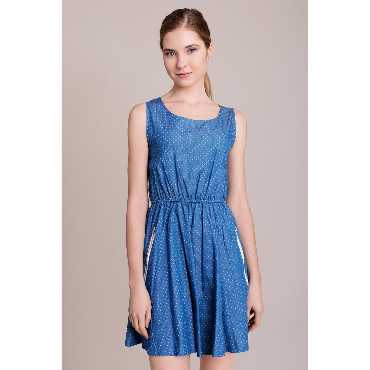 Платье в горошек, без рукавовХарактеристики и описание        Материал         100% полиэстера        Марка    MIGLE+ME<br><br>Цвет: синий