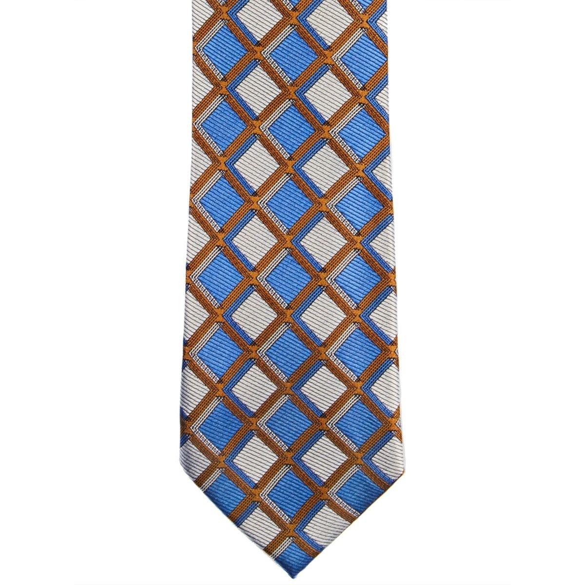 Cravate en pure soie marine à damier fantaisie