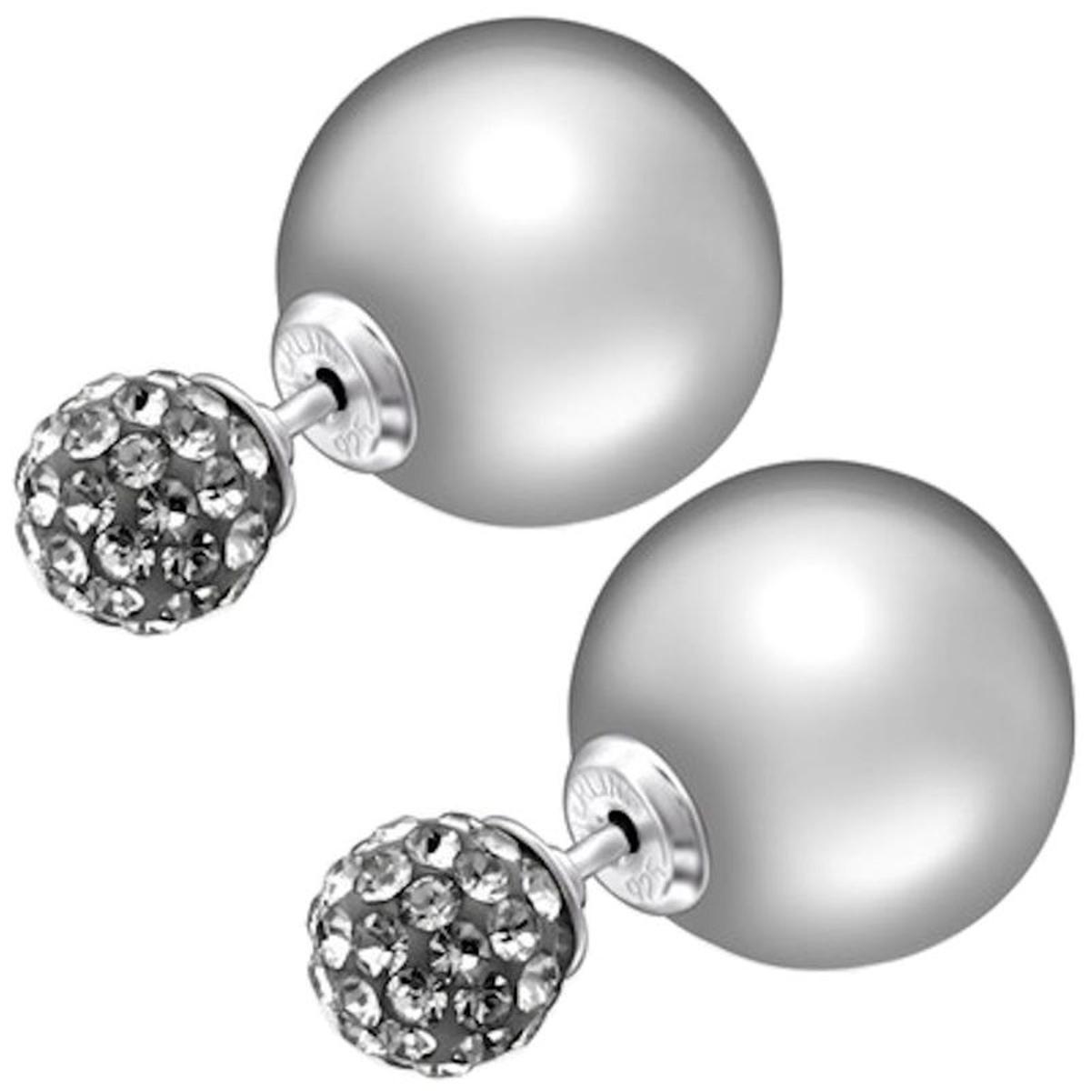 Boucles d'oreilles Dessous Lobe Double Boule Perle Argent 925