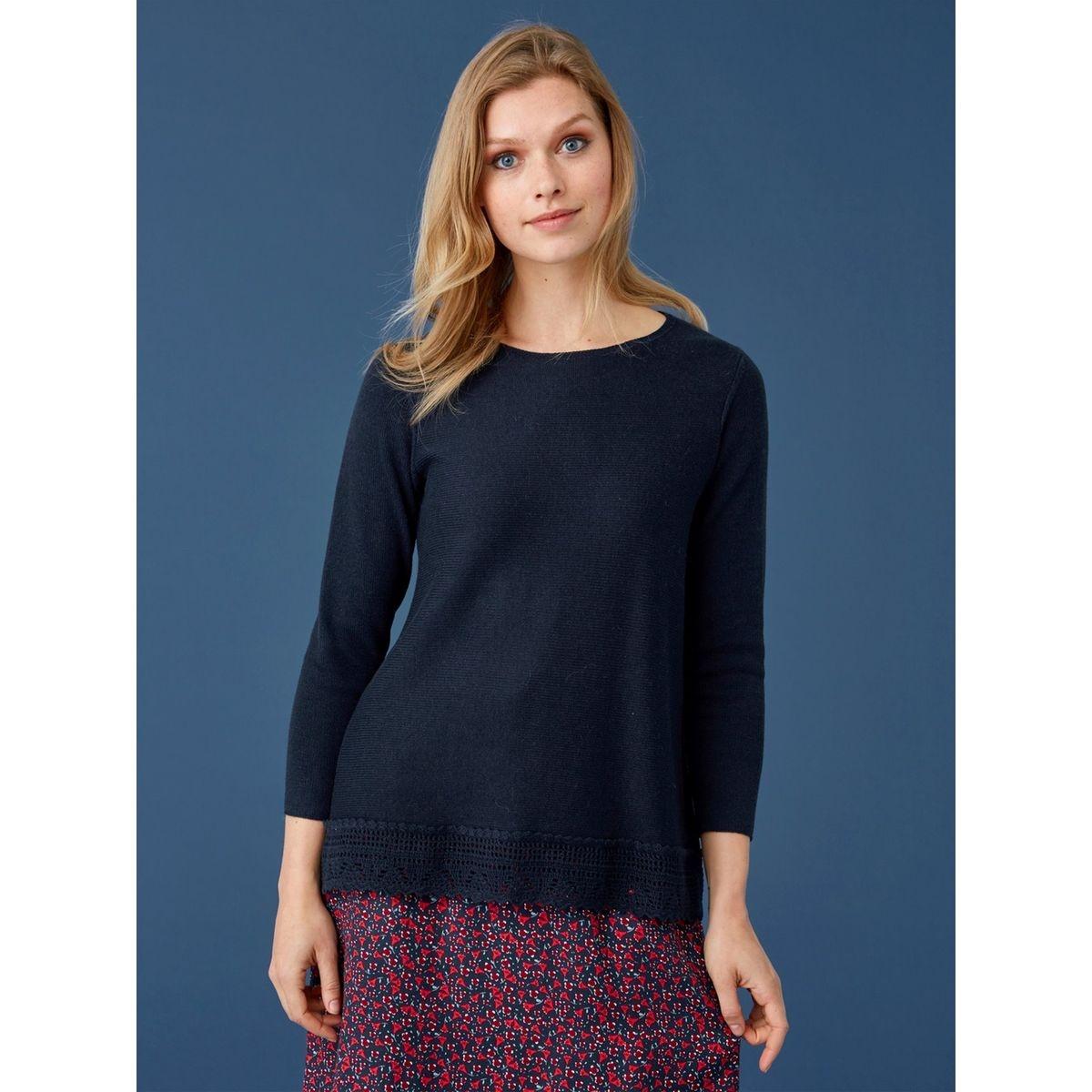 Pull femme coton/laine base macramé, MALCAT