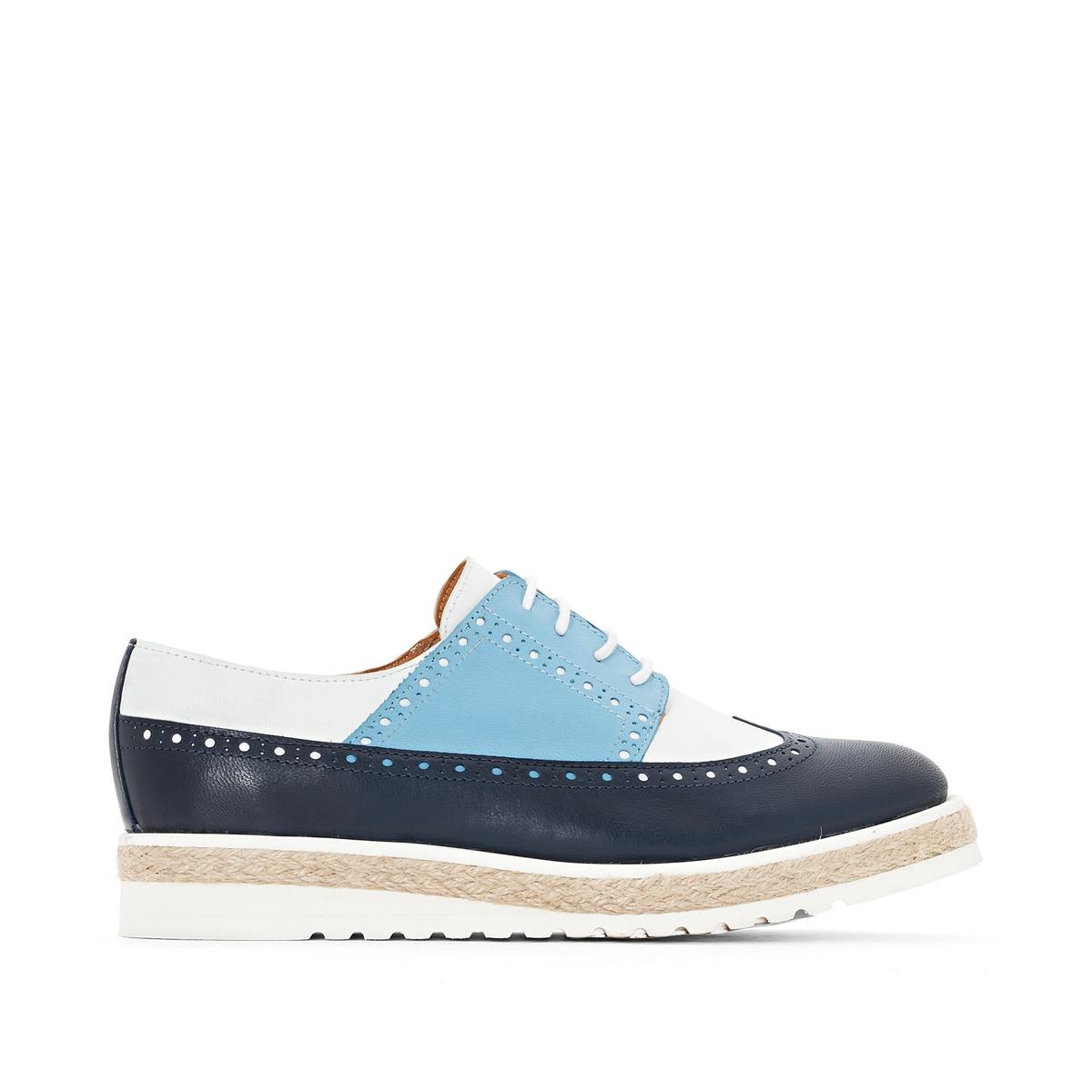 цена Ботинки-дерби La Redoute Кожаные трехцветные на танкетке 37 синий онлайн в 2017 году