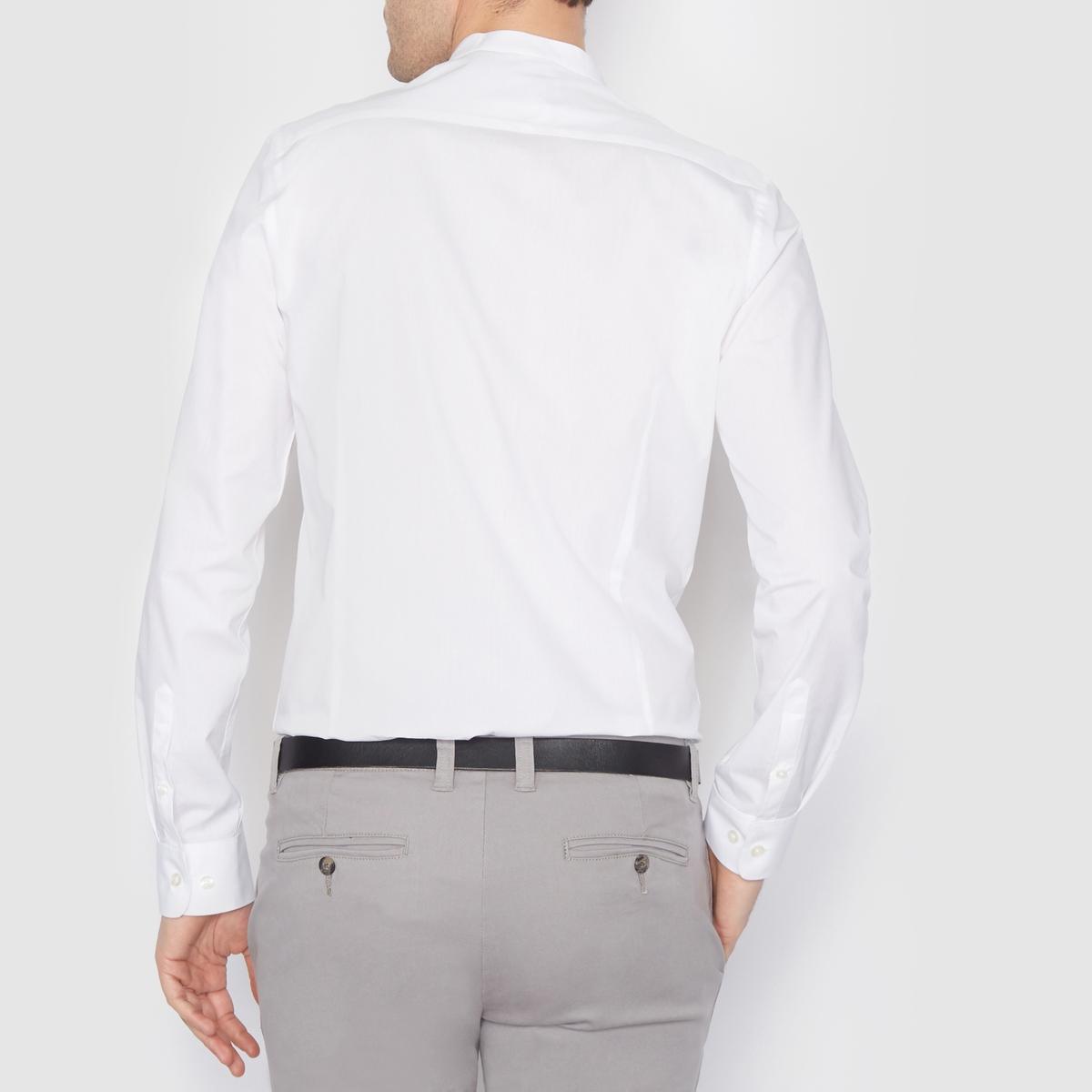 Рубашка зауженного покроя 100% хлопокРубашка в повседневном стиле, узкий покрой, воротник-стойка. Длина 77 см. Низ рукавов с застежкой на пуговицы. Рубашка, 100% хлопок.<br><br>Цвет: белый,небесно-голубой<br>Размер: 47/48.47/48.41/42.45/46