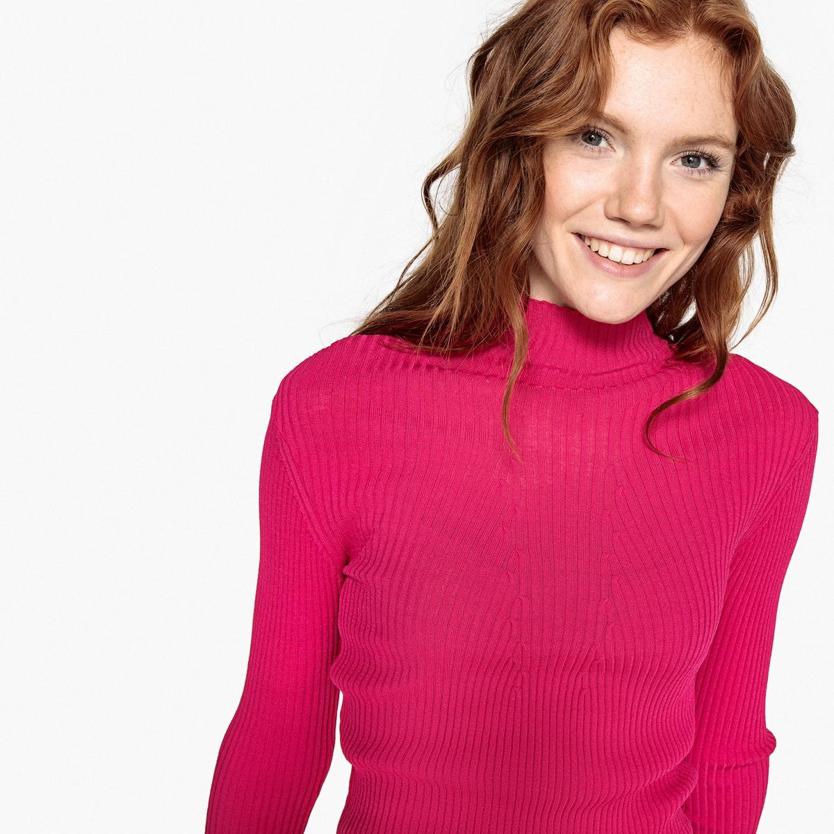 Пуловер La Redoute С воротником стойкой трикотажный L розовый
