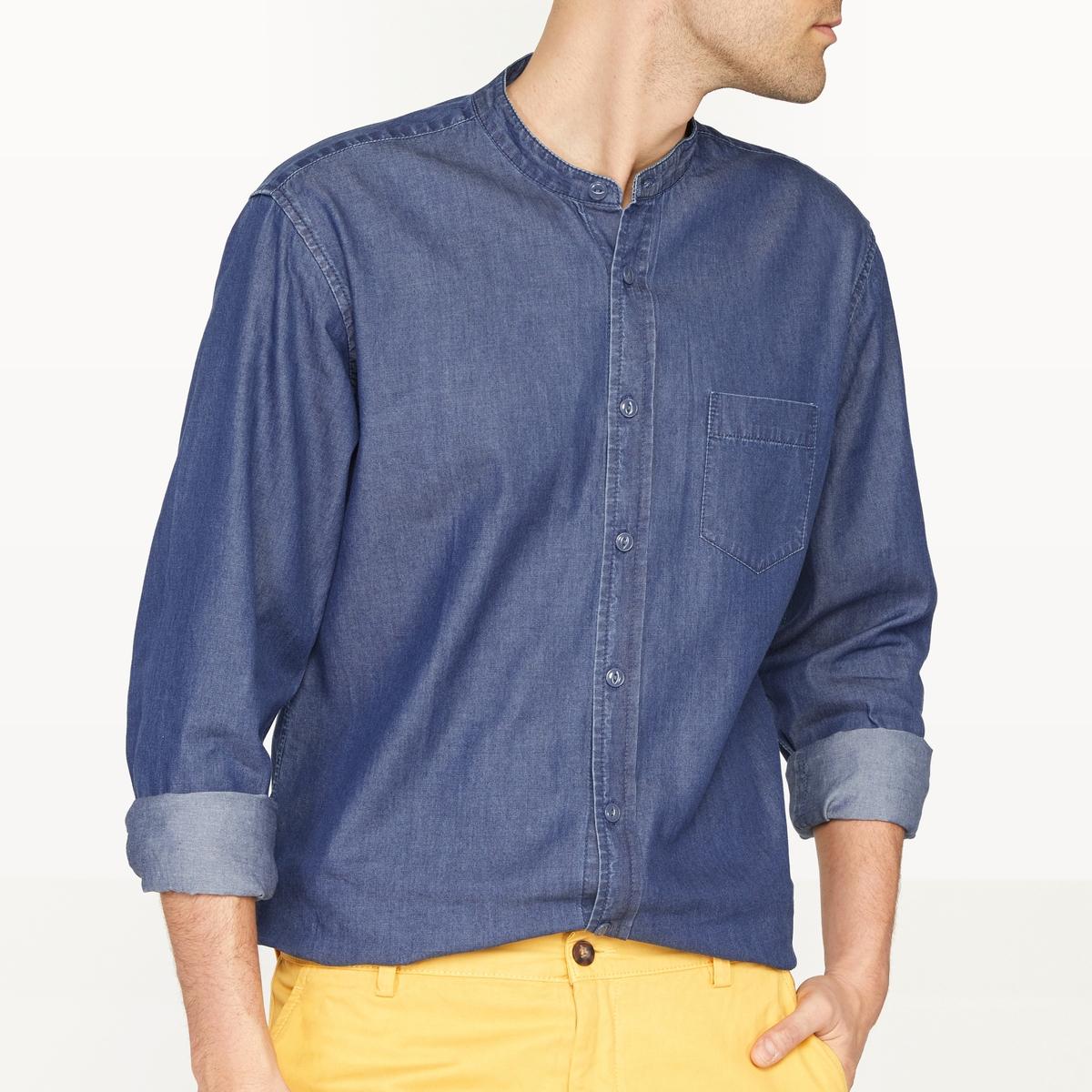 Рубашка джинсовая прямого покроя с воротником-стойкой