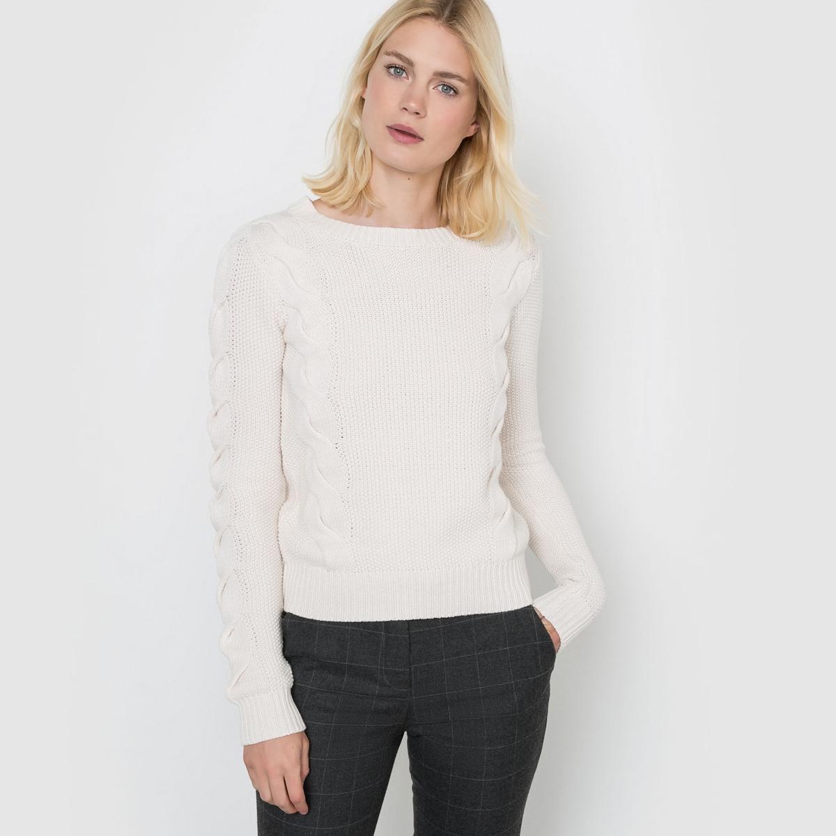 Пуловер с узором косы, длинные рукава