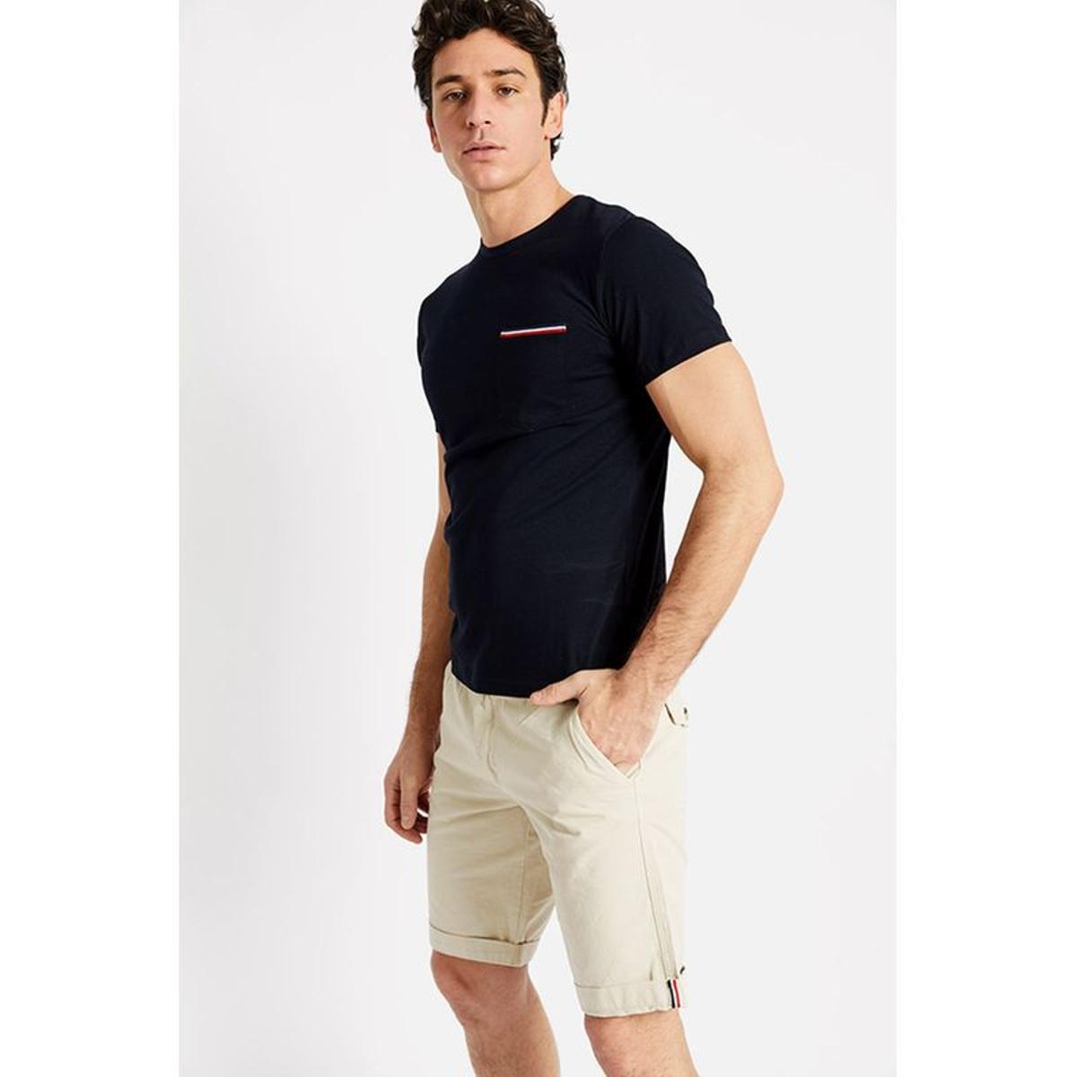 T-shirt manches courtes Marine Poche bordure Bleu Blanc Rouge