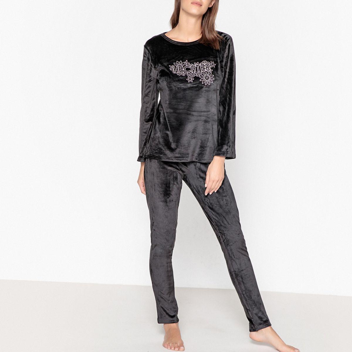 Pyjama velours imprimé logo