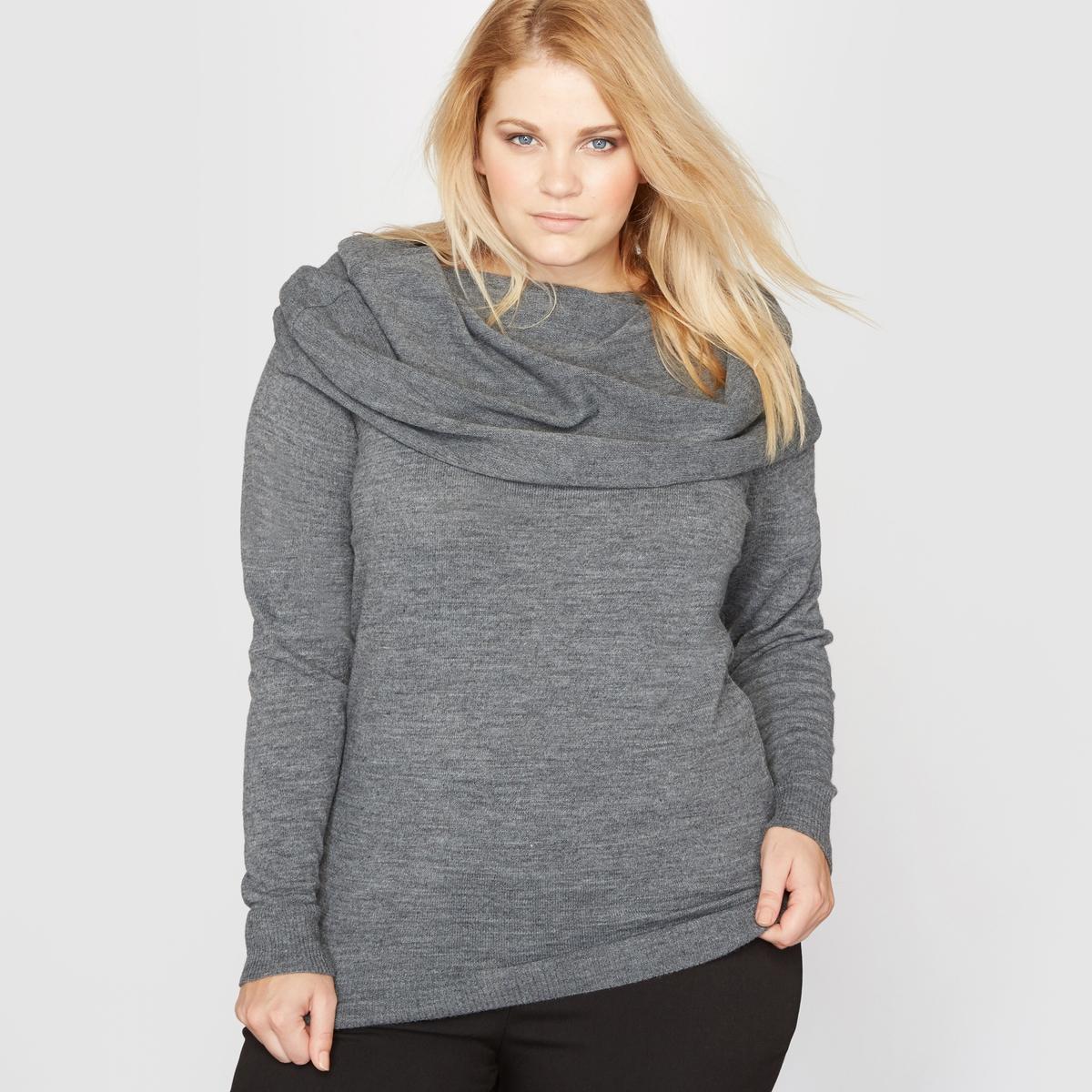 Пуловер с воротником со складкамиСостав и описание :Материал : Трикотаж меланж 80% акрила, 10% шерсти, 5% альпаки, 5% вискозы.Длина : 68 см для 42/44 размера.Марка : CASTALUNA.Уход : - Машинная стирка при 30°С, деликатный режим.<br><br>Цвет: серый меланж