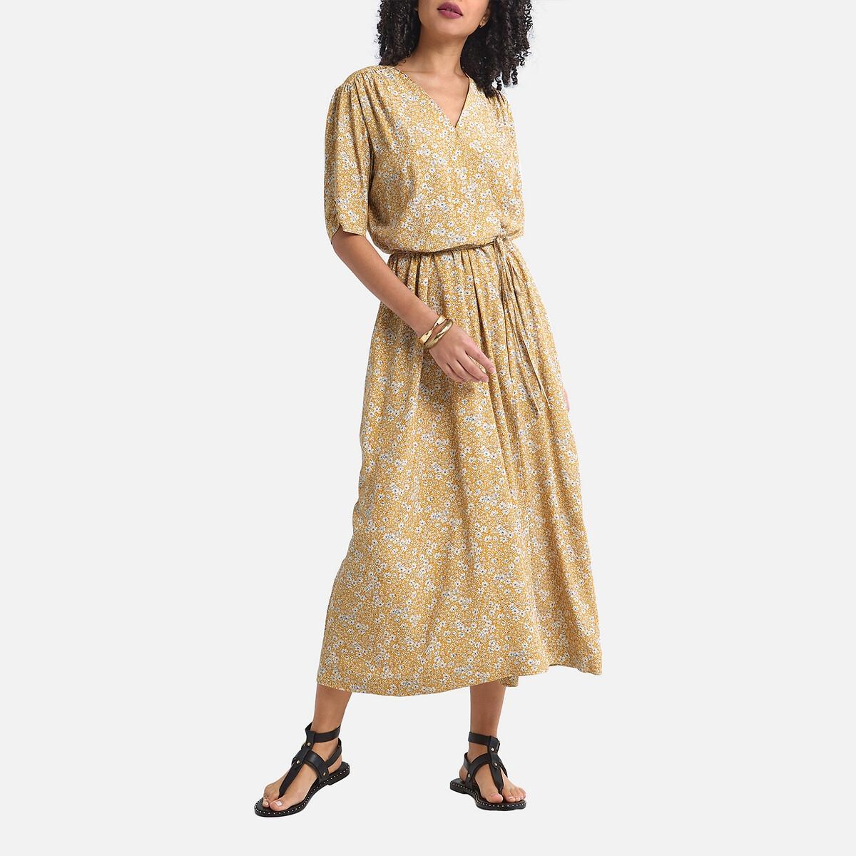 Платье La Redoute С запахом короткими рукавами с принтом 42 (FR) - 48 (RUS) желтый платье la redoute длинное с запахом с короткими рукавами 34 fr 40 rus черный