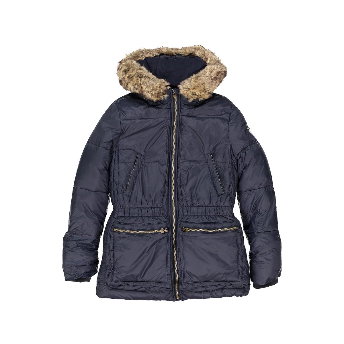 Куртка с капюшономДетали •  Зимняя модель •  Непромокаемая •  Застежка на молнию •  С капюшоном  •  Длина : укороченнаяСостав и уход •  97% хлопка, 3% эластана •  Следуйте советам по уходу, указанным на этикетке<br><br>Цвет: темно-синий