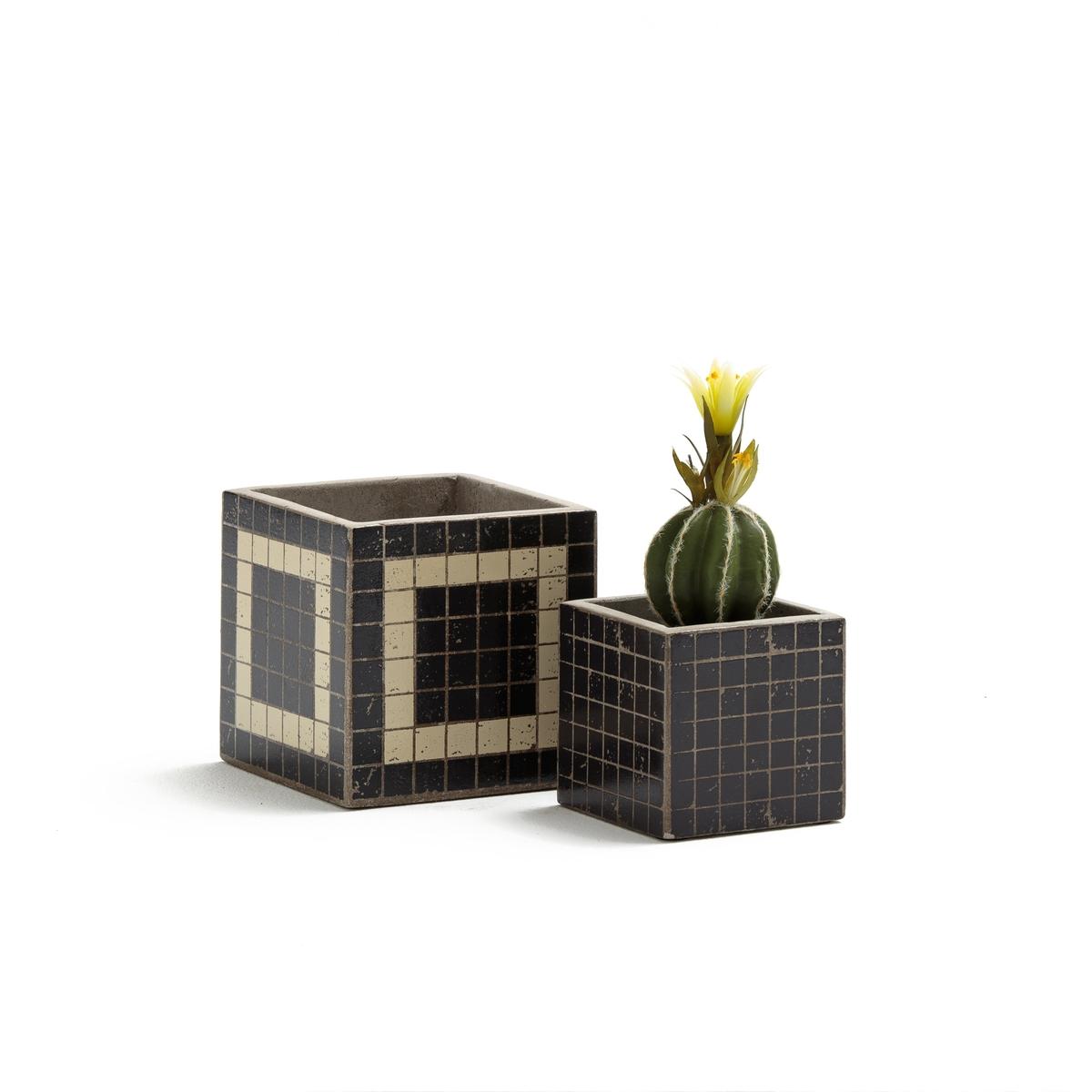 Комплект из 2 кашпо из цемента, KUBIO набор из 2 х кашпо маки виолетпласт