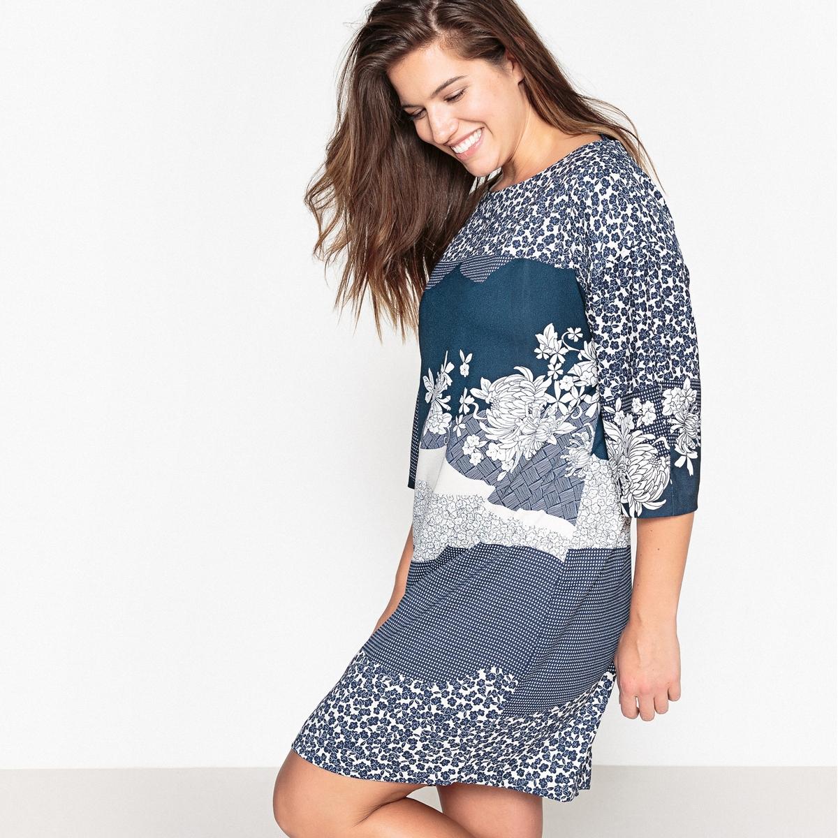 Платье короткое прямое с цветочным рисунком и рукавами 3/4 платье короткое с рукавами 3 4