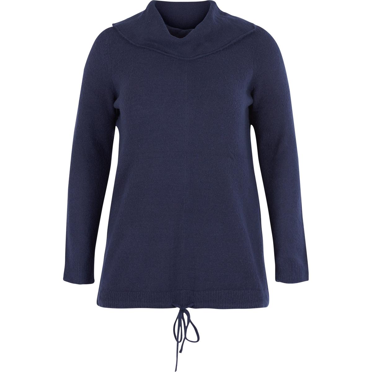 Пуловер трикотажныйДлинный трикотажный пуловер. Длинные рукава и воротник-хомут. Завязки снизу создают эффект напуска<br><br>Цвет: синий<br>Размер: 54/56 (FR) - 60/62 (RUS)