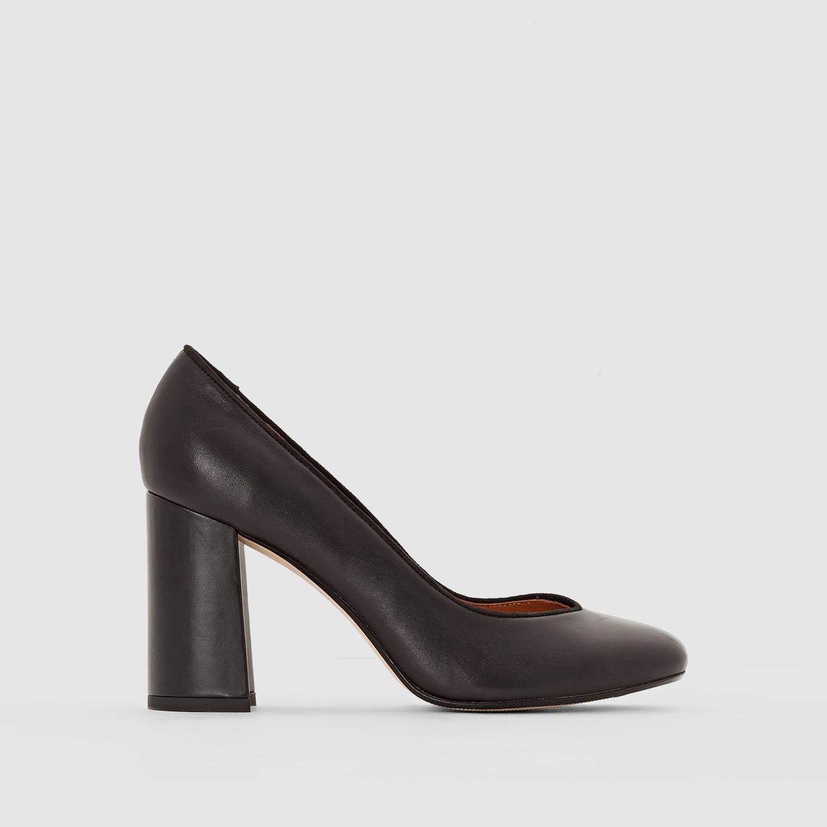 цены на Туфли-лодочки кожаные на широком каблуке в интернет-магазинах